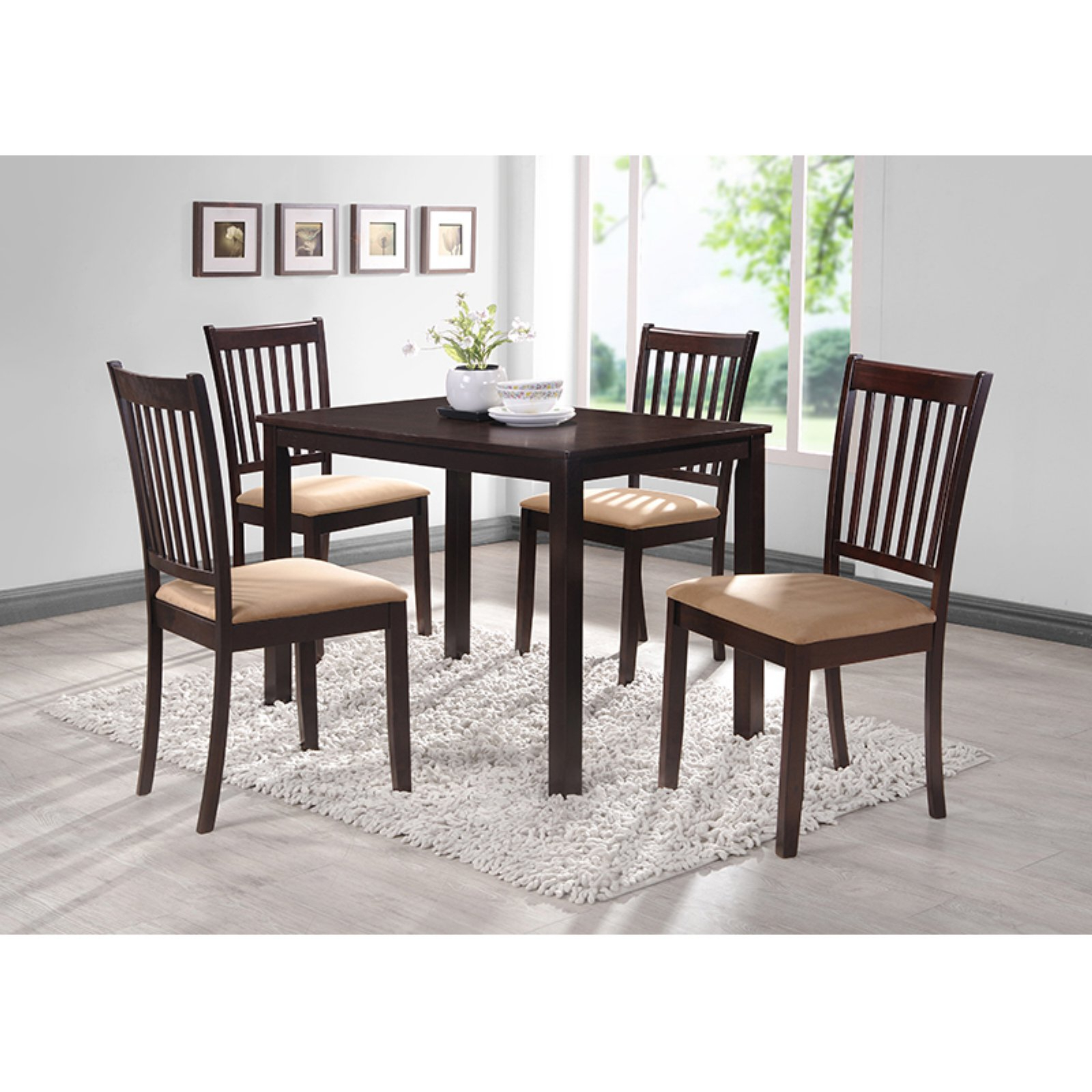 Fashionable Kieffer 5 Piece Dining Sets Inside Coaster Hyde Rectangular Casual Dining Leg Table In Cappuccino (View 9 of 25)