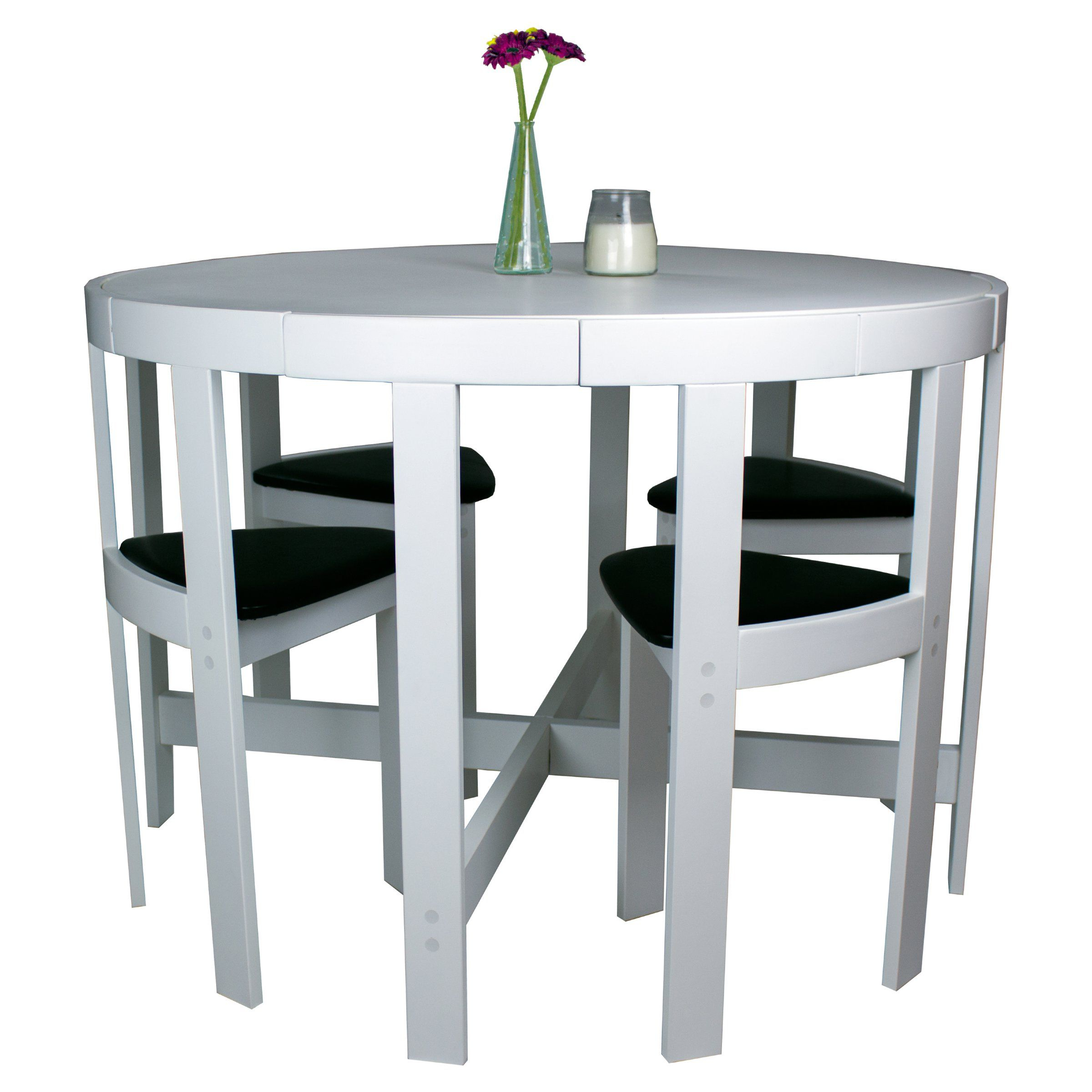 Fashionable Modern Round 5 Piece Space Saving Dinette Set – White – Dining Table Intended For Ryker 3 Piece Dining Sets (View 12 of 25)