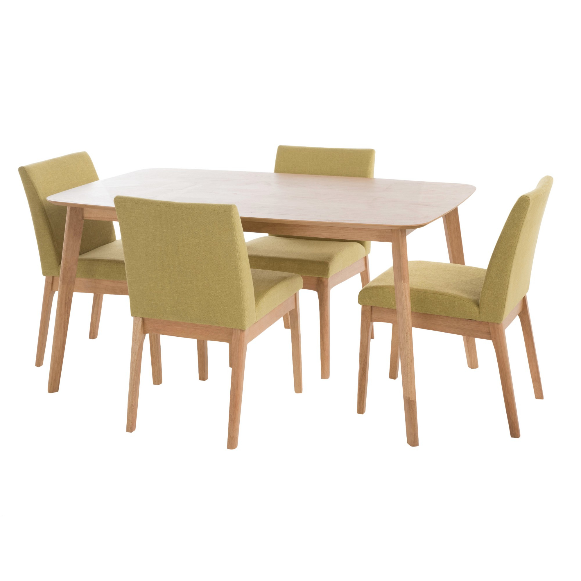 Fashionable Telauges 5 Piece Dining Sets With Kwame 60 5 – Piece Dining Set – Natural Oak/green Tea – Christopher (View 7 of 25)