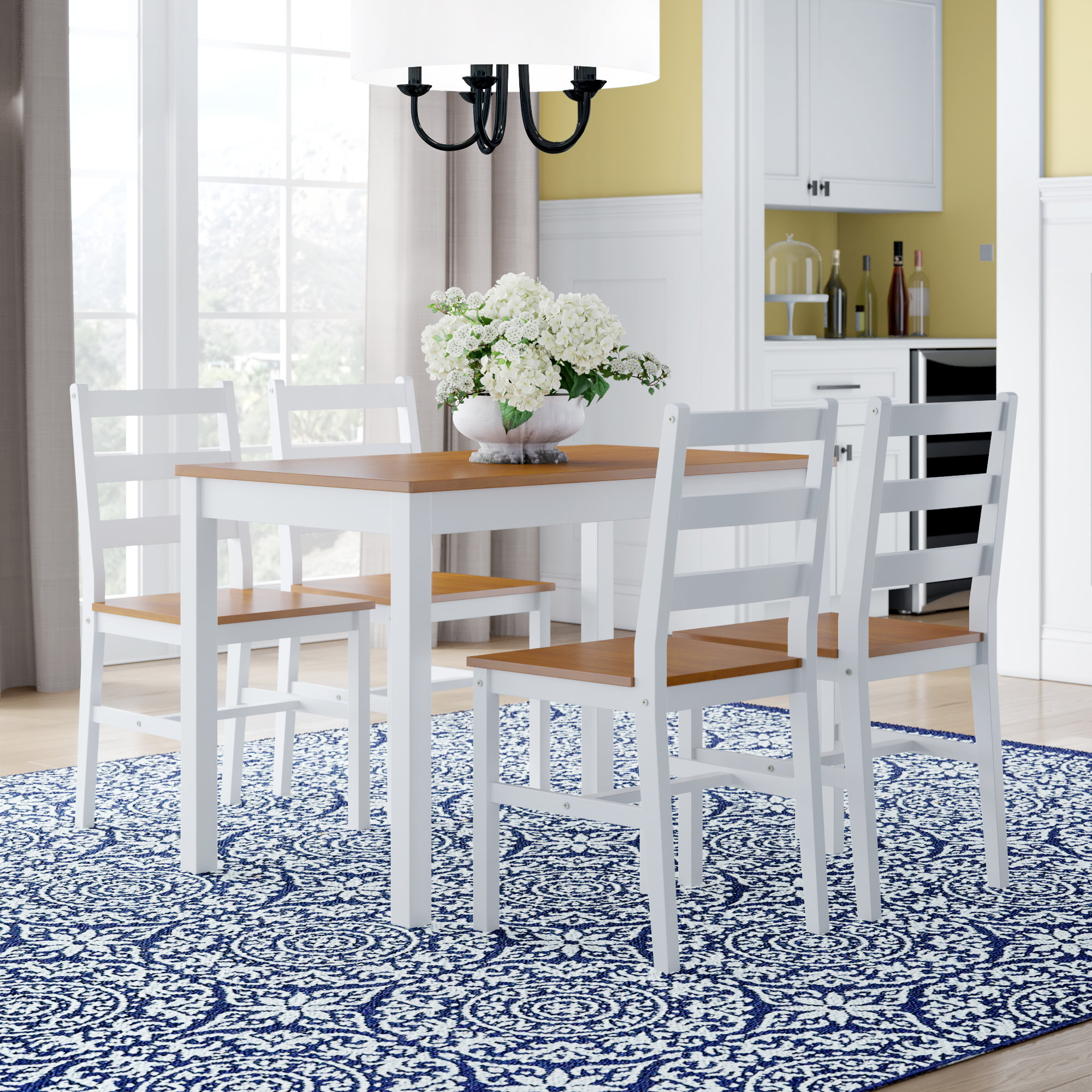Fashionable Winston Porter Yedinak 5 Piece Solid Wood Dining Set & Reviews (View 13 of 25)