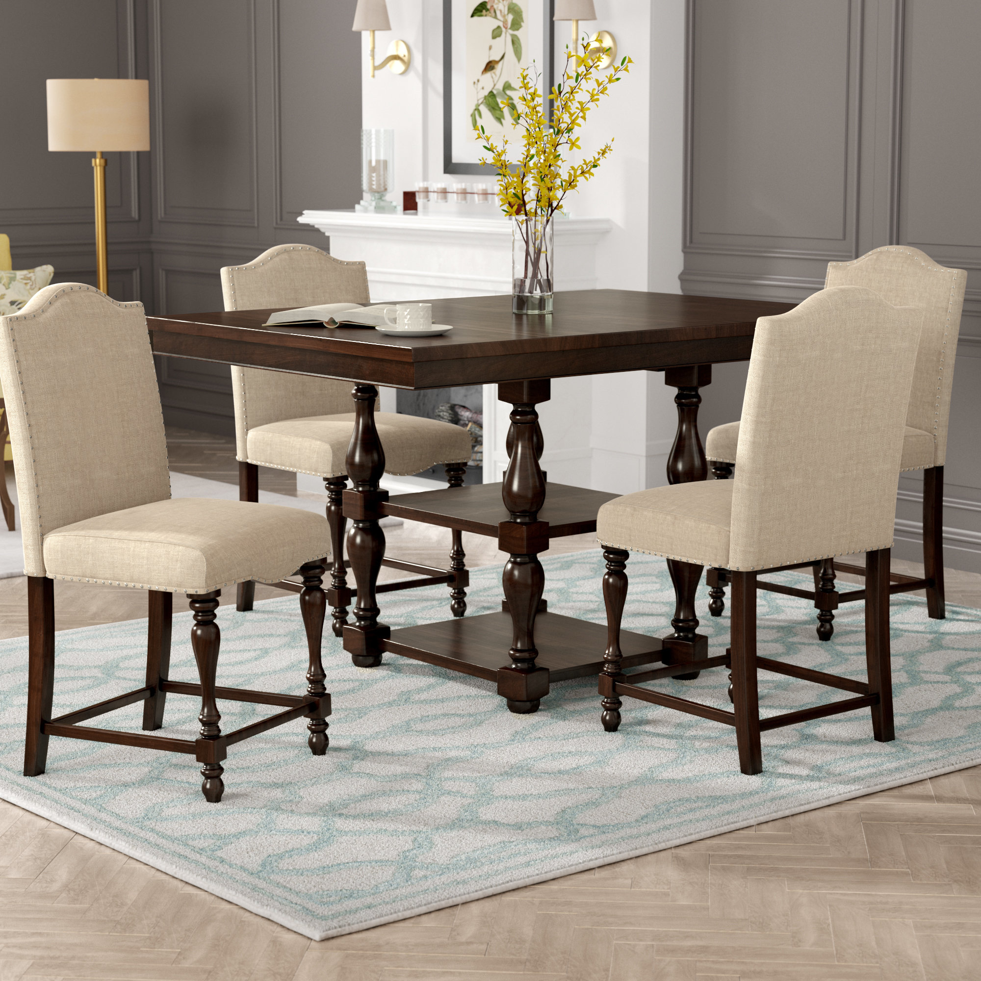 Favorite Birch Lane™ Heritage Barrera 5 Piece Counter Height Dining Set With Bryson 5 Piece Dining Sets (View 20 of 25)