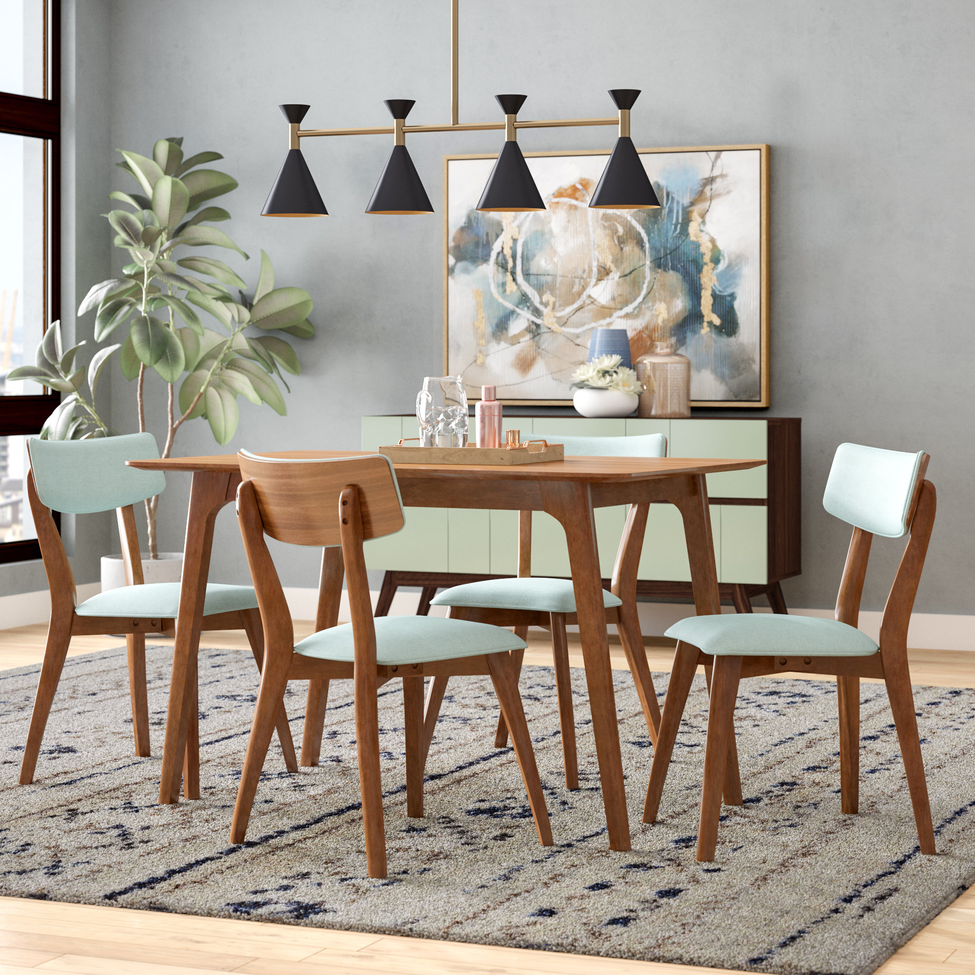 Favorite Liles 5 Piece Breakfast Nook Dining Sets Regarding George Oliver Andrew 5 Piece Dining Set & Reviews (View 9 of 25)