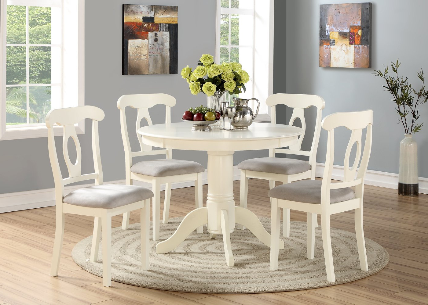 Favorite Mulvey 5 Piece Dining Sets Intended For Amazon – Angel Line 23511 21 5 Piece Lindsey Dining Set, White (View 7 of 25)