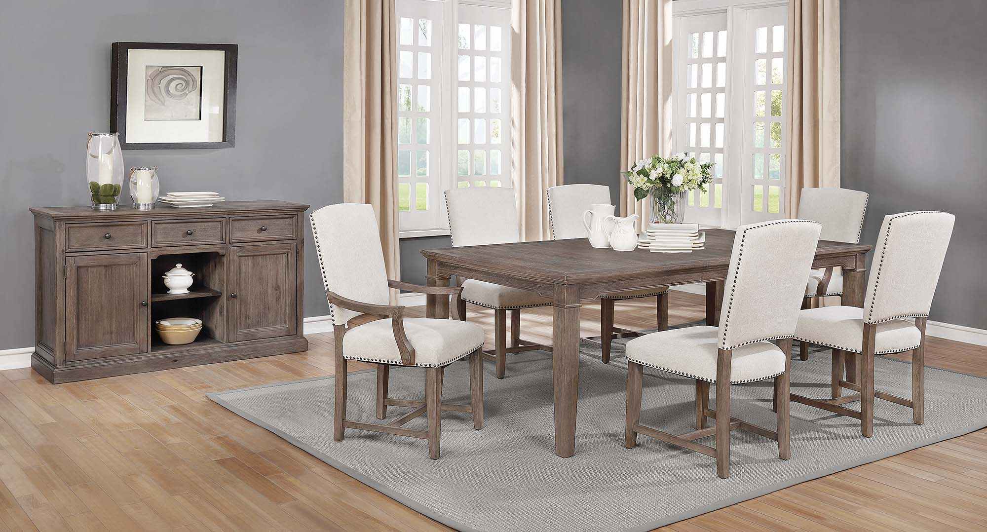 Favorite Penelope 7 Piece Dining Set Island Khaki And Rice Grey – $ (View 6 of 25)