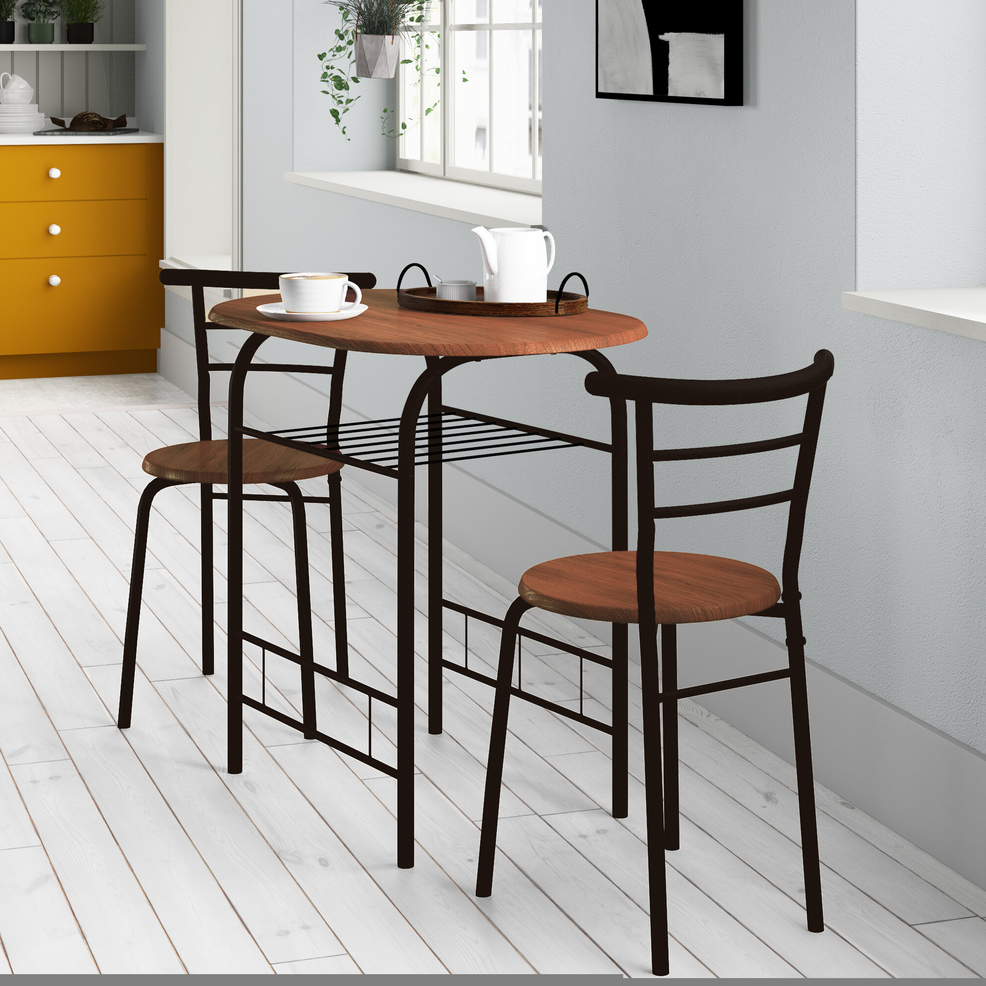 Favorite Zipcode Design Volmer 3 Piece Compact Dining Set & Reviews (View 15 of 25)