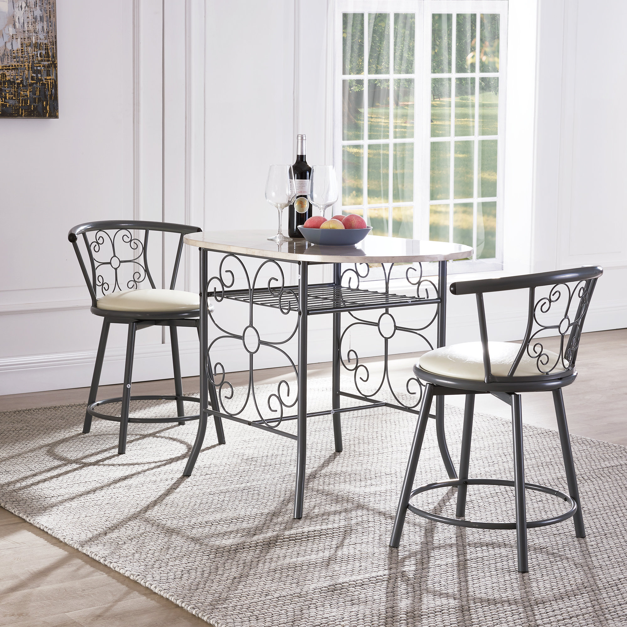 Fleur De Lis Living Askerby Scroll Design Bistro 3 Piece Dining Set Throughout Fashionable Tappahannock 3 Piece Counter Height Dining Sets (View 10 of 25)