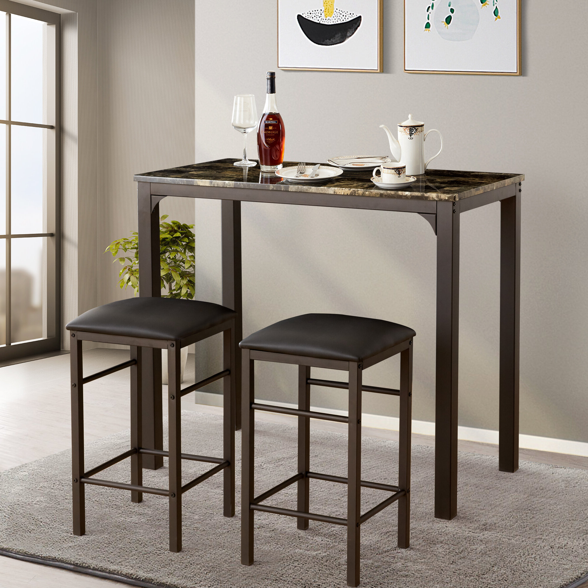 Fleur De Lis Living Tappahannock 3 Piece Counter Height Dining Set Pertaining To Favorite Miskell 3 Piece Dining Sets (View 5 of 25)