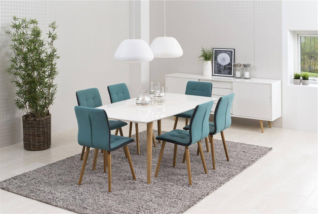 Frida 3 Piece Dining Table Sets With Famous Frida Fabric Teal Dining Chairs (View 22 of 25)