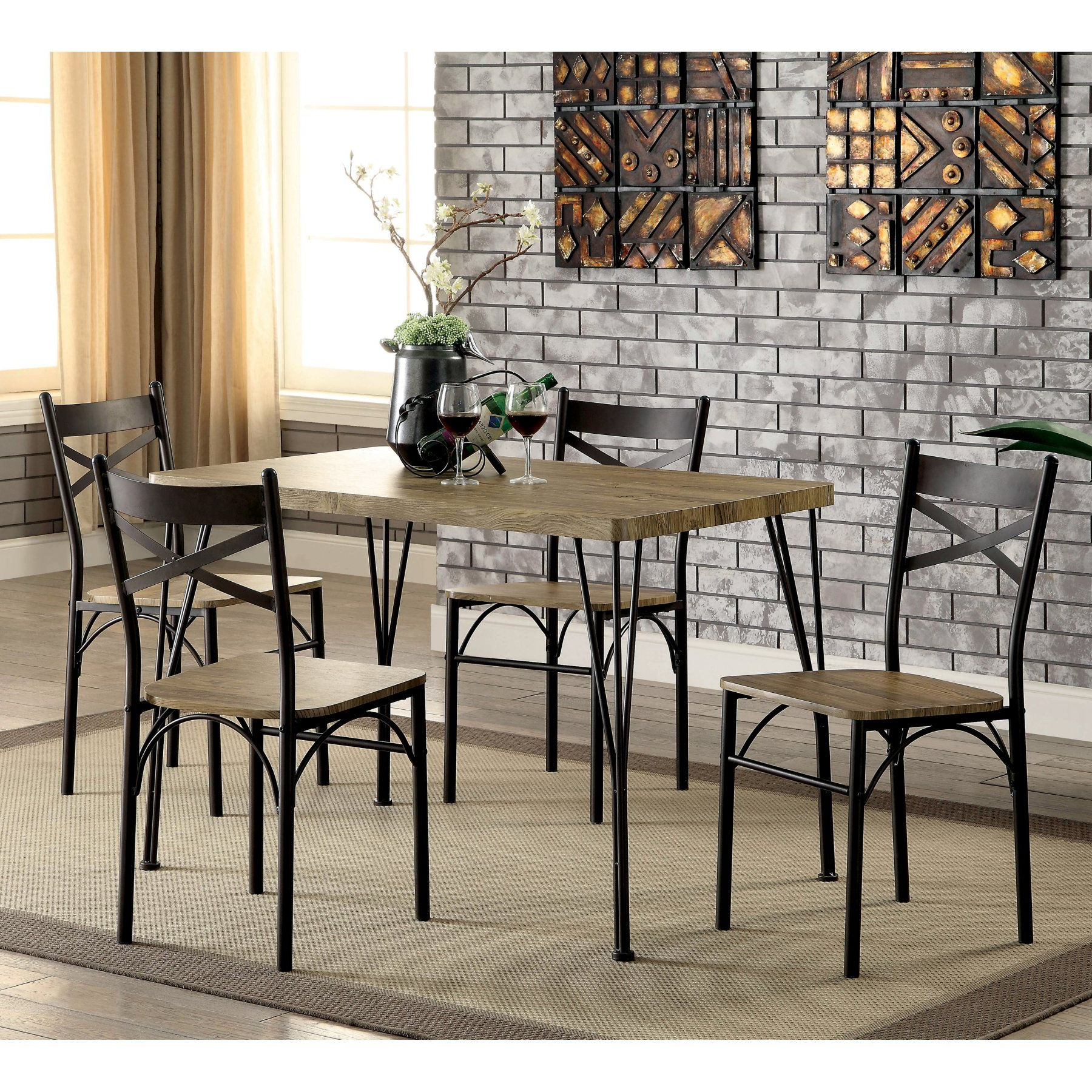 Furniture Of America Amonica 5 Piece Casual Dining Set En 2019 Pertaining To 2019 Winsted 4 Piece Counter Height Dining Sets (View 20 of 25)