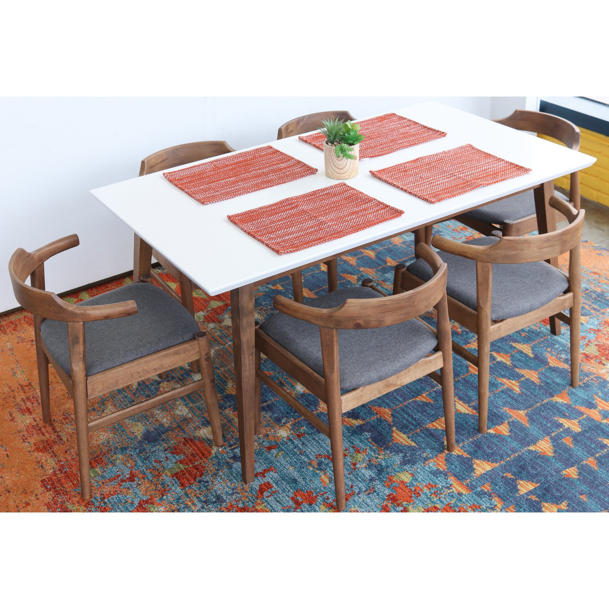 George Oliver Carlyle 7 Piece Solid Wood Dining Set (View 14 of 25)