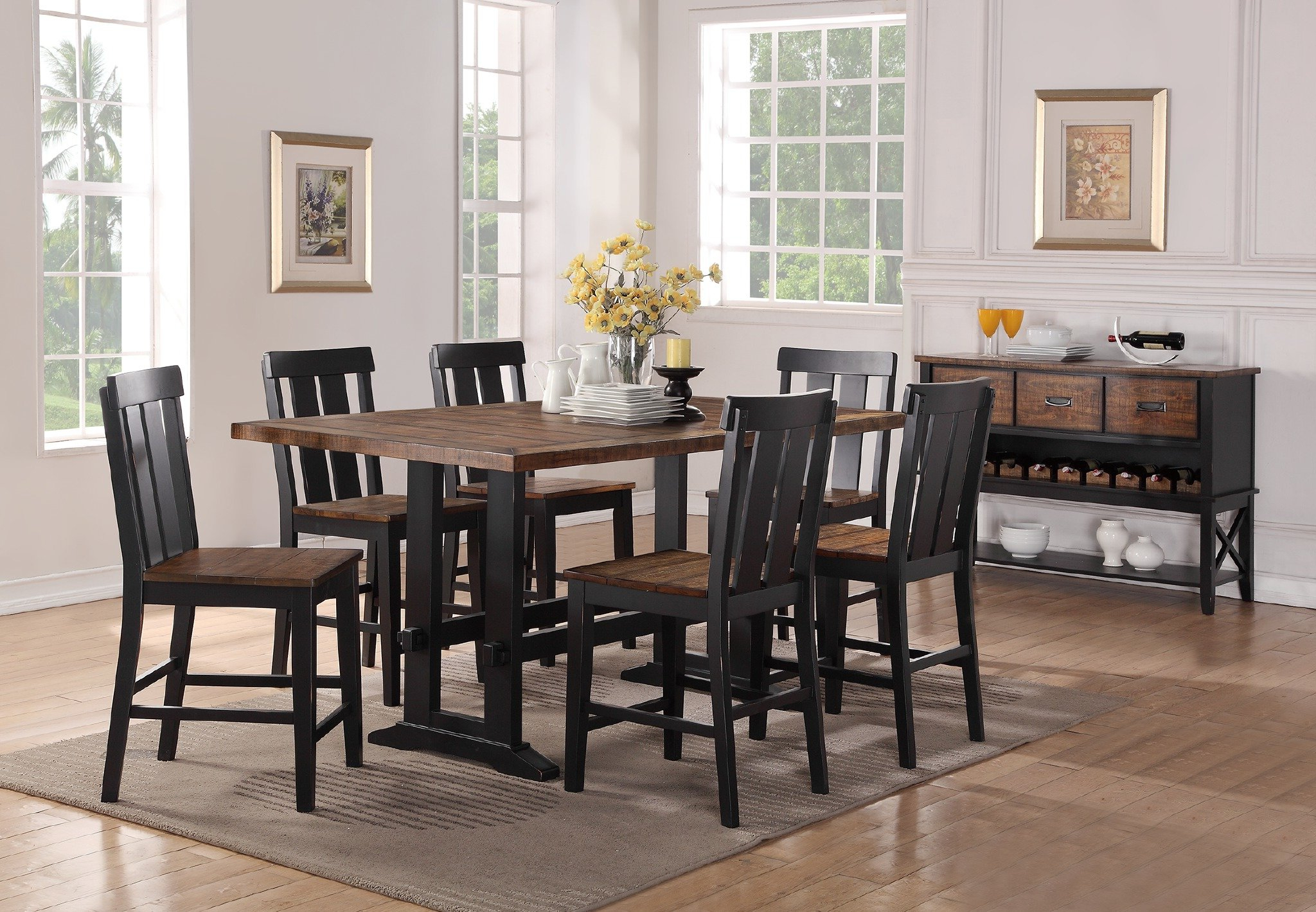 Goodman 5 Piece Solid Wood Dining Sets (Set Of 5) Throughout Well Known Gracie Oaks Goodman 7 Piece Counter Height Dining Set & Reviews (View 8 of 25)