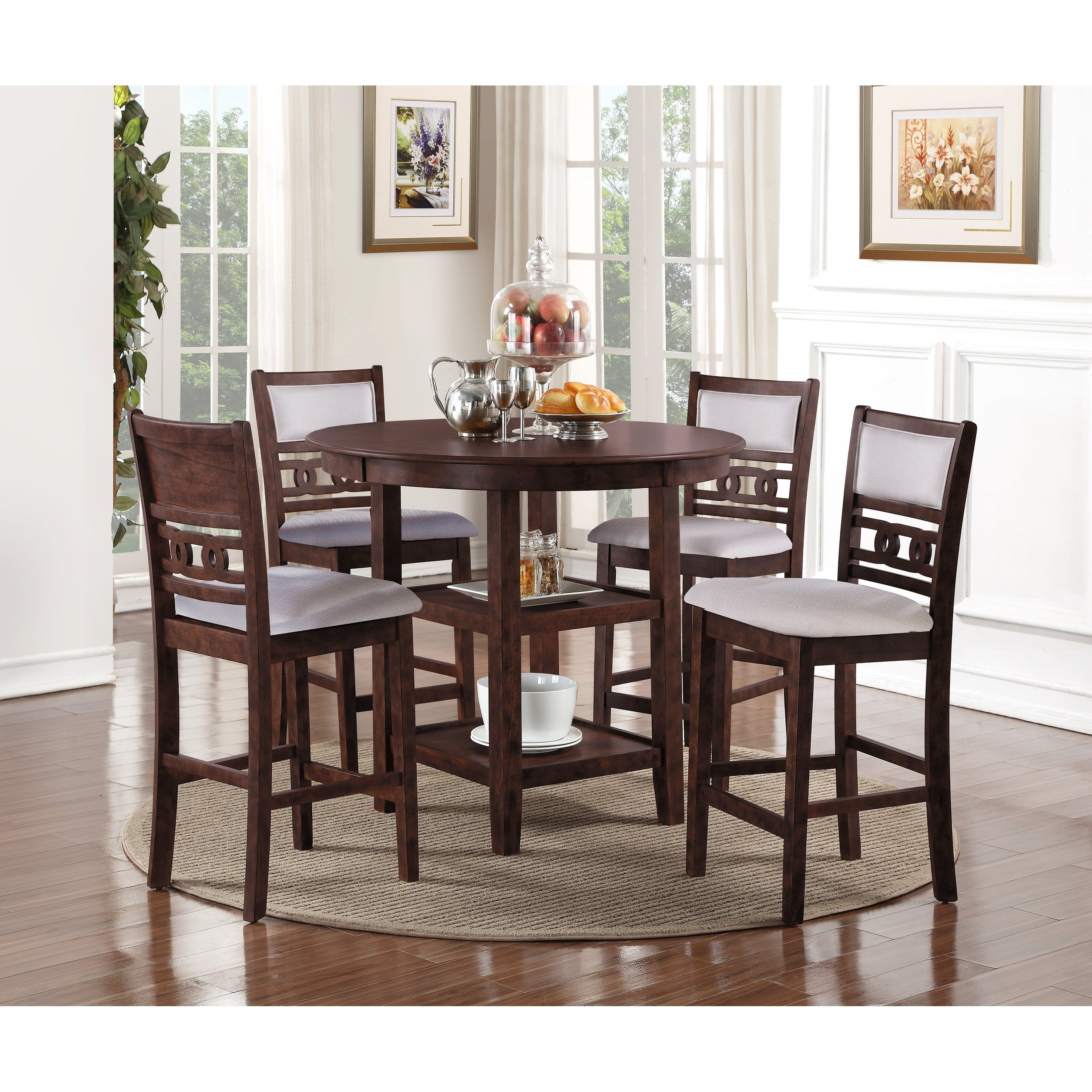 Goodman 5 Piece Solid Wood Dining Sets (Set Of 5) With Regard To Fashionable Shop Copper Grove Creteil 5 Piece Counter Height Dining Table Set (View 10 of 25)