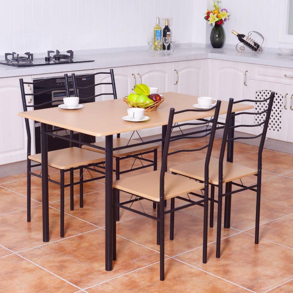 Goplus 5 Pieces Dining Table Set 1 Wooden Dining Table With 4 Dinig Pertaining To Preferred Conover 5 Piece Dining Sets (View 14 of 25)