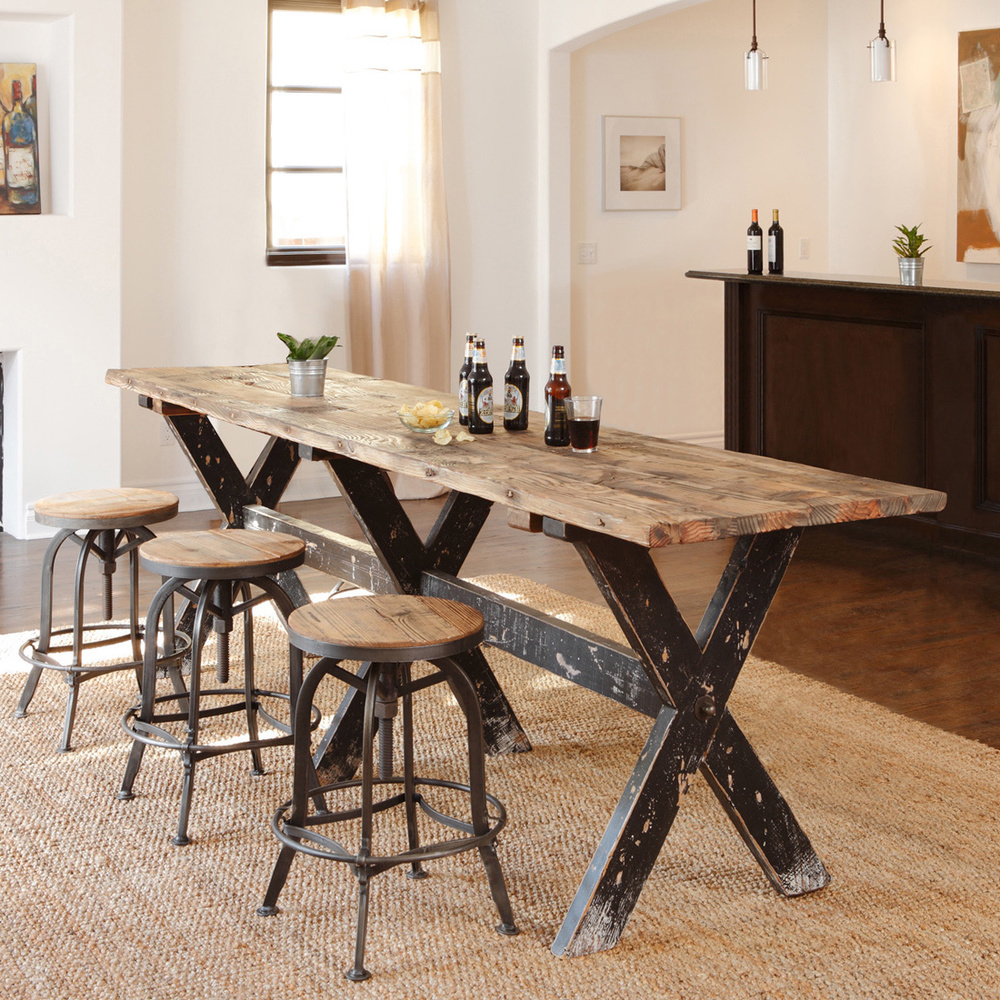 Handcrafted Of Reclaimed Wood, This Rugged And Beautiful Gathering Throughout Most Up To Date Castellanos Modern 5 Piece Counter Height Dining Sets (Gallery 4 of 25)