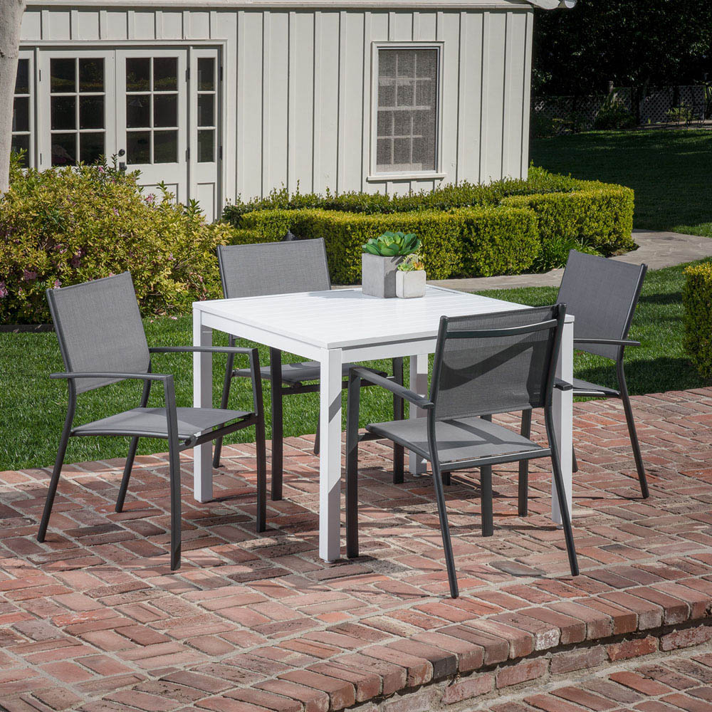 Hanover Del Mar 5 Piece Outdoor Dining Set With 4 Sling Arm Chairs In Well Liked Delmar 5 Piece Dining Sets (View 8 of 25)