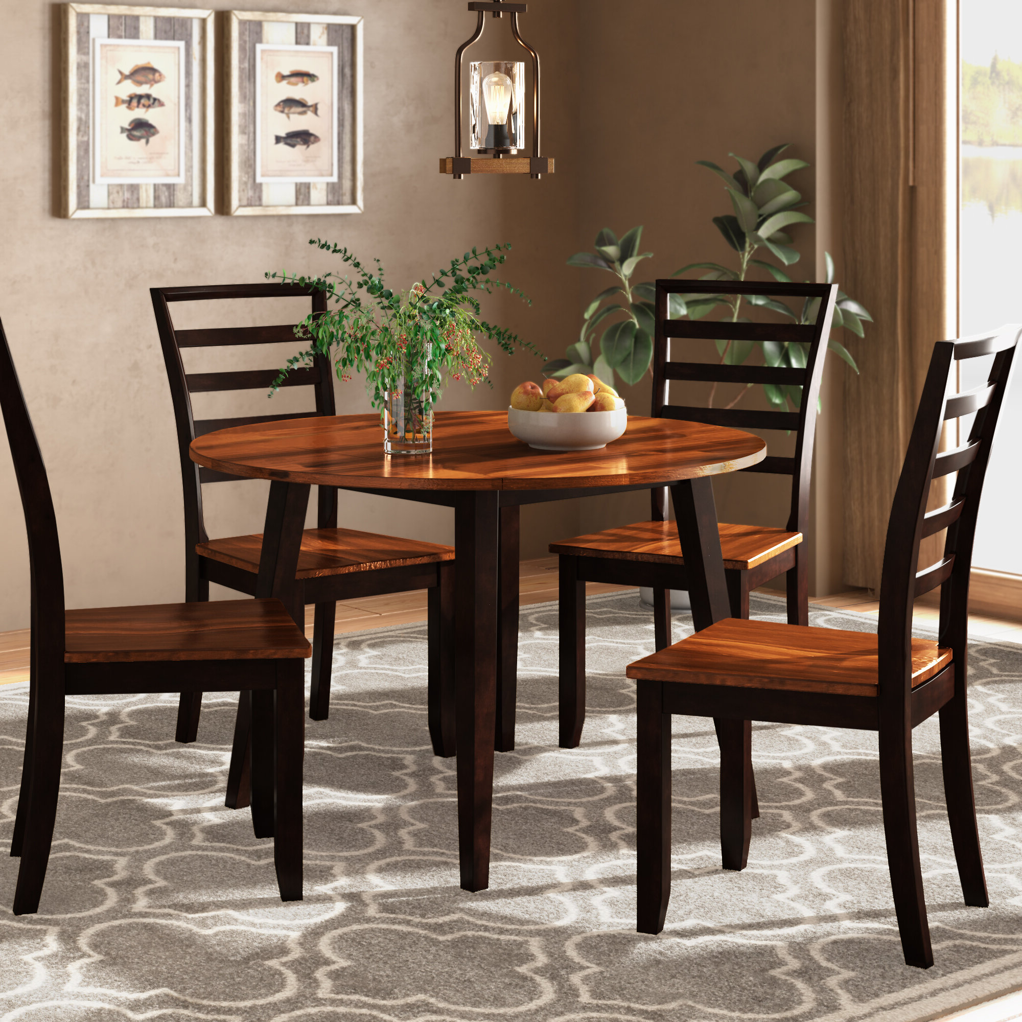 Hanska Wooden 5 Piece Counter Height Dining Table Sets (Set Of 5) Inside Latest Millwood Pines Hidalgo 5 Piece Drop Leaf Solid Wood Breakfast Nook (Gallery 2 of 25)
