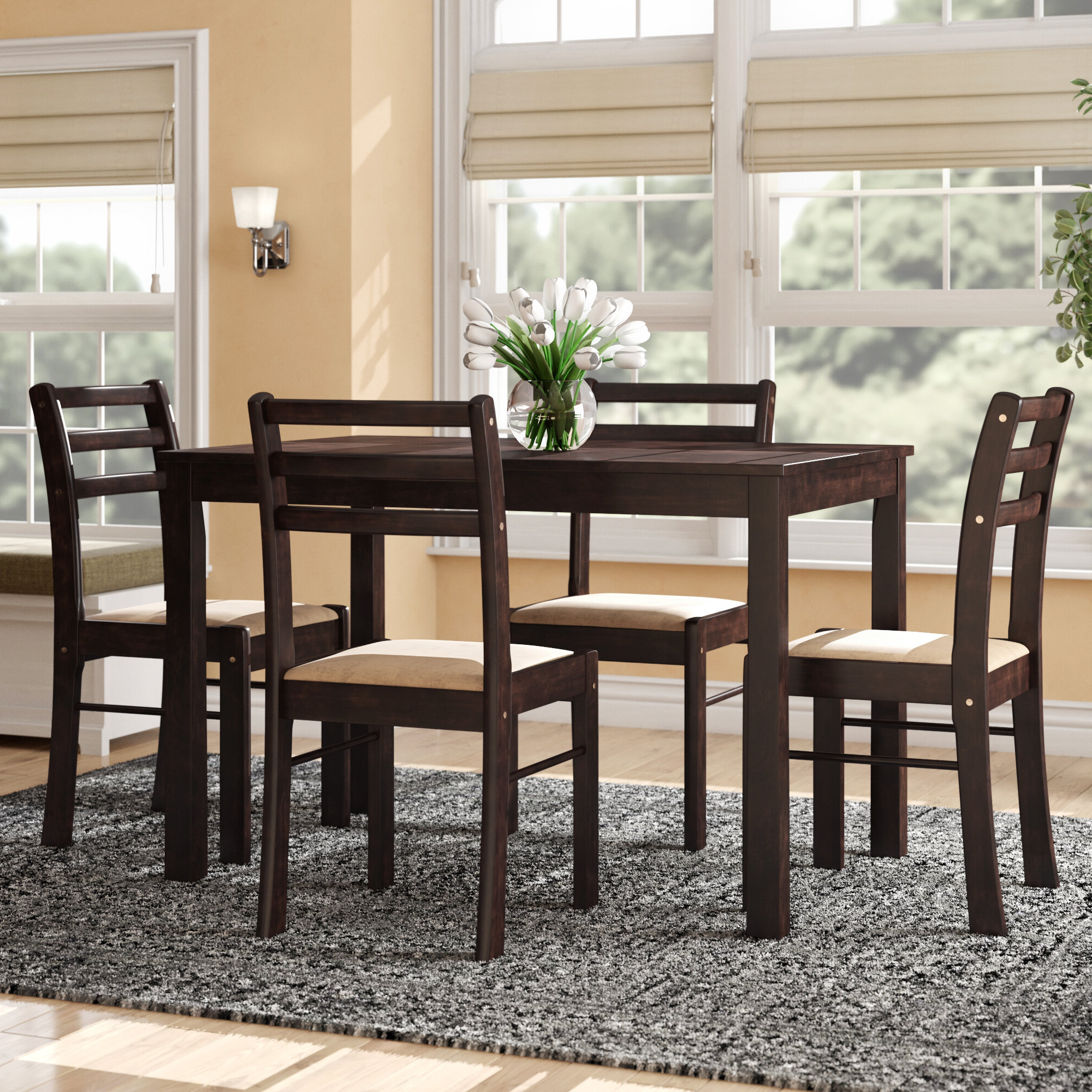 Hanska Wooden 5 Piece Counter Height Dining Table Sets (Set Of 5) Regarding Well Known Winston Porter Portal 5 Piece Dining Set & Reviews (Gallery 8 of 25)