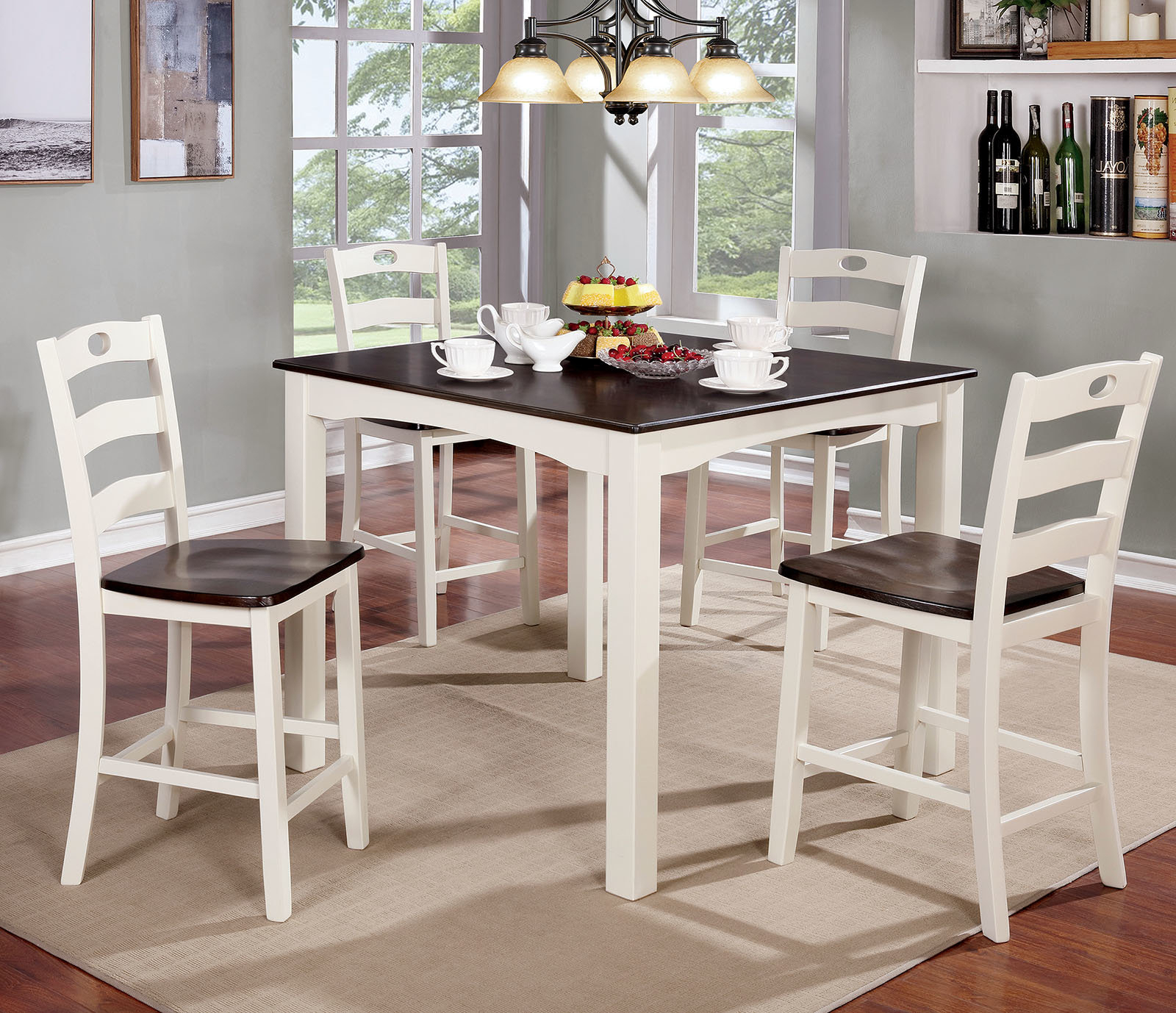 Hanska Wooden 5 Piece Counter Height Dining Table Sets (Set Of 5) Within Popular Red Barrel Studio Harkins Wooden 5 Piece Counter Height Dining Table (Gallery 6 of 25)