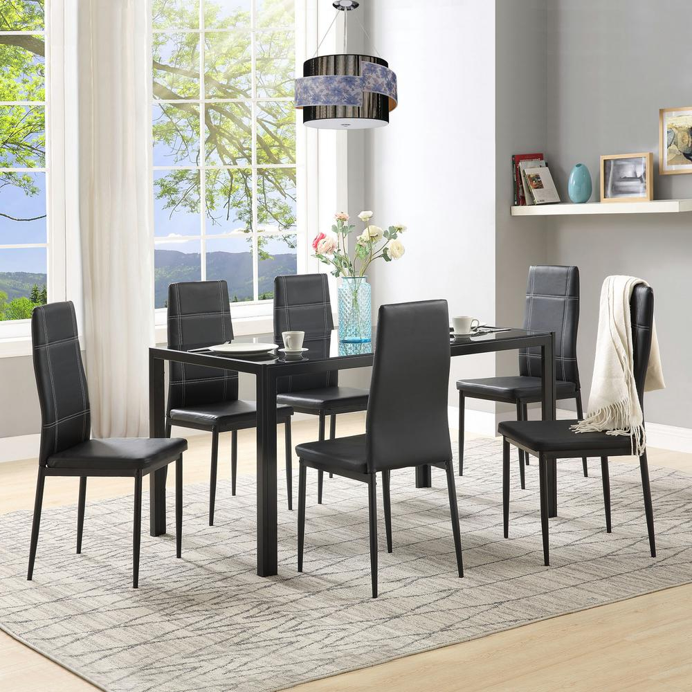 Harper & Bright Designs 7 Piece Black Dining Set Glass Top Metal Within Trendy Maynard 5 Piece Dining Sets (Gallery 12 of 25)