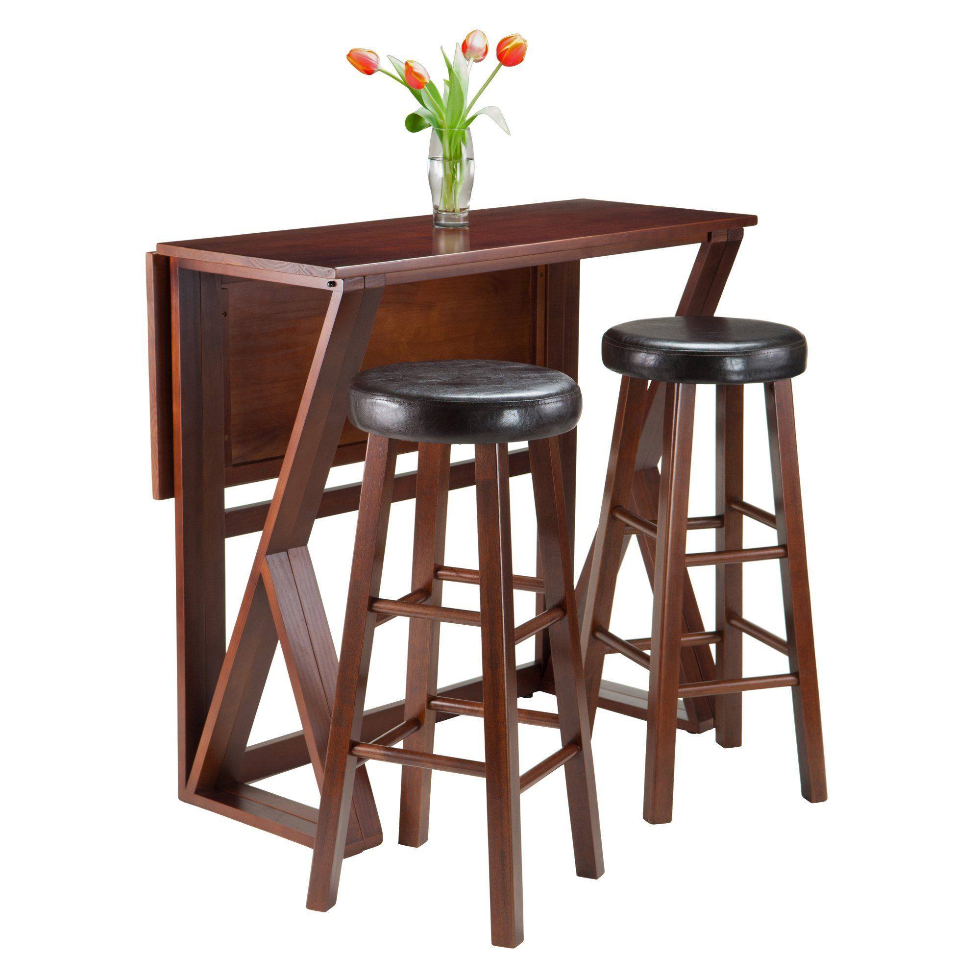 Harrington 3 Pc Drop Leaf High Table With Two Marta Cushion With Regard To Popular Crownover 3 Piece Bar Table Sets (View 15 of 25)