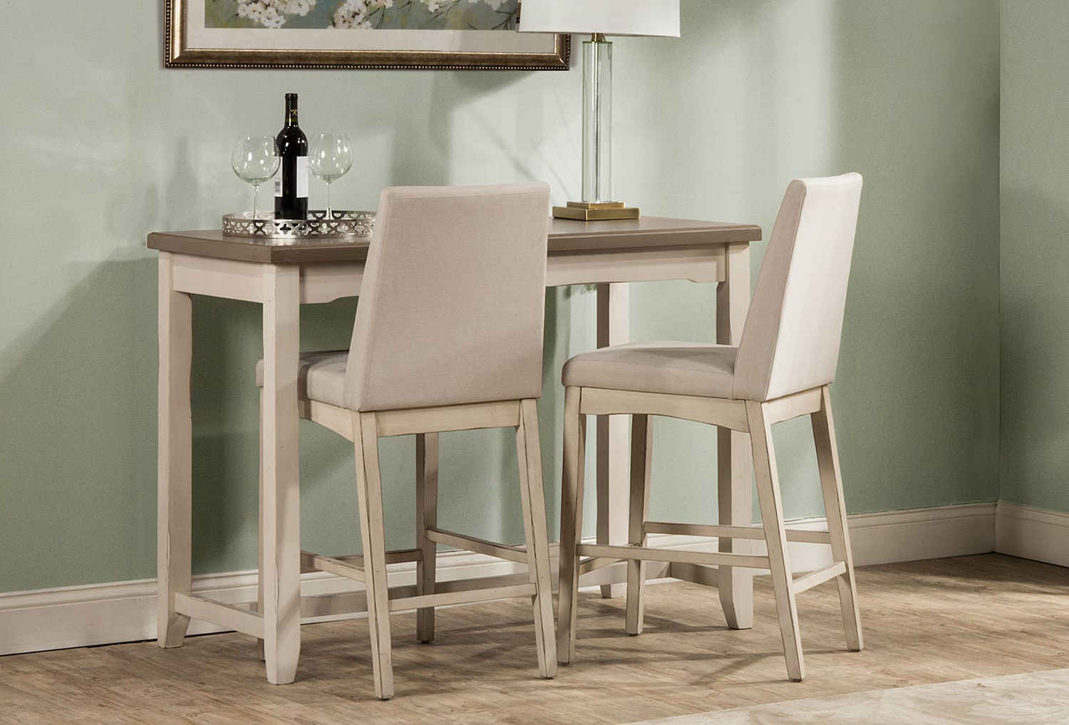 Hillsdale Clarion 3 Piece Counter Height Dining Set – Gray/white For 2020 3 Piece Dining Sets (Gallery 25 of 25)