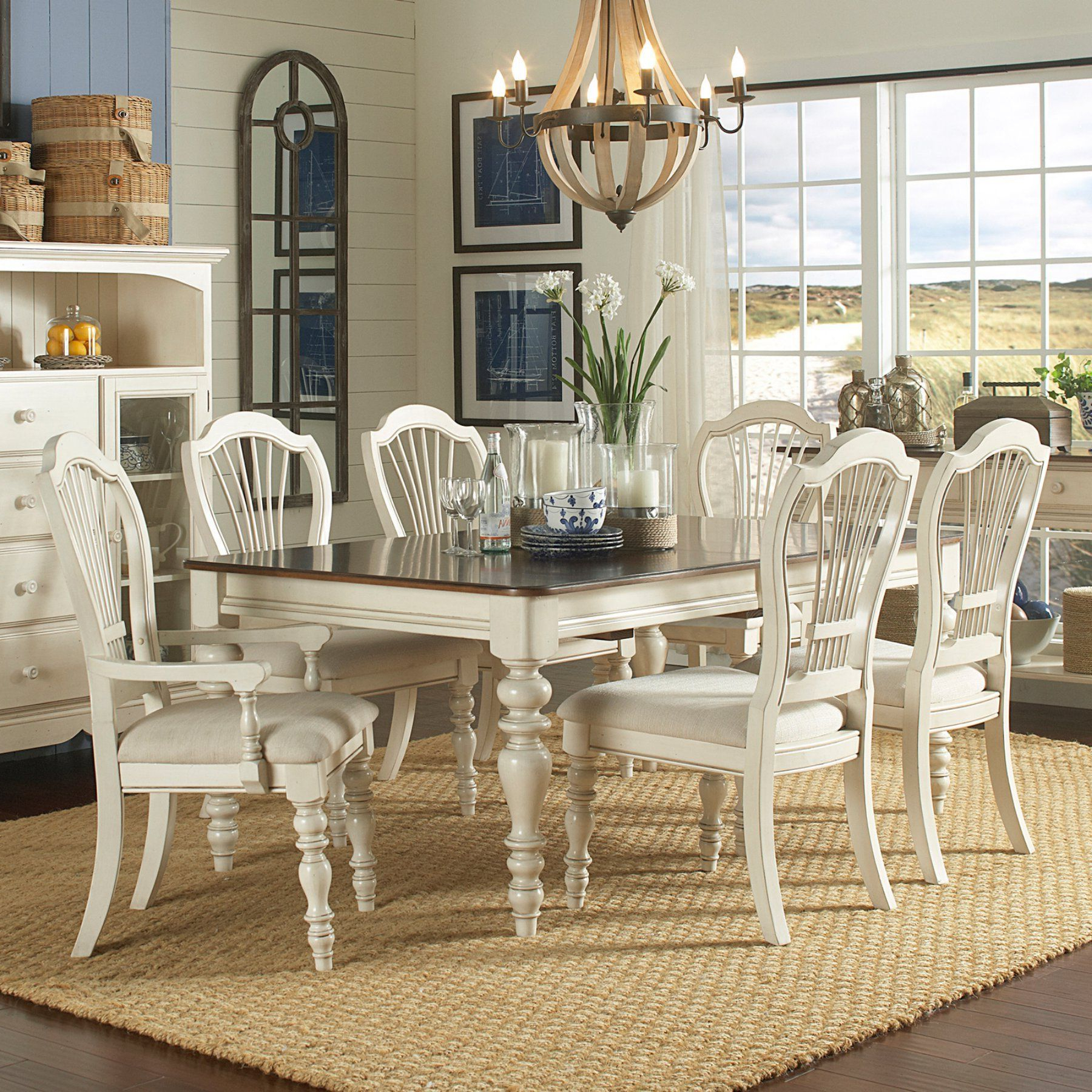 Hillsdale Pine Island 7 Piece Dining Table Set With Wheat Back For Popular Mitzel 3 Piece Dining Sets (Gallery 17 of 25)
