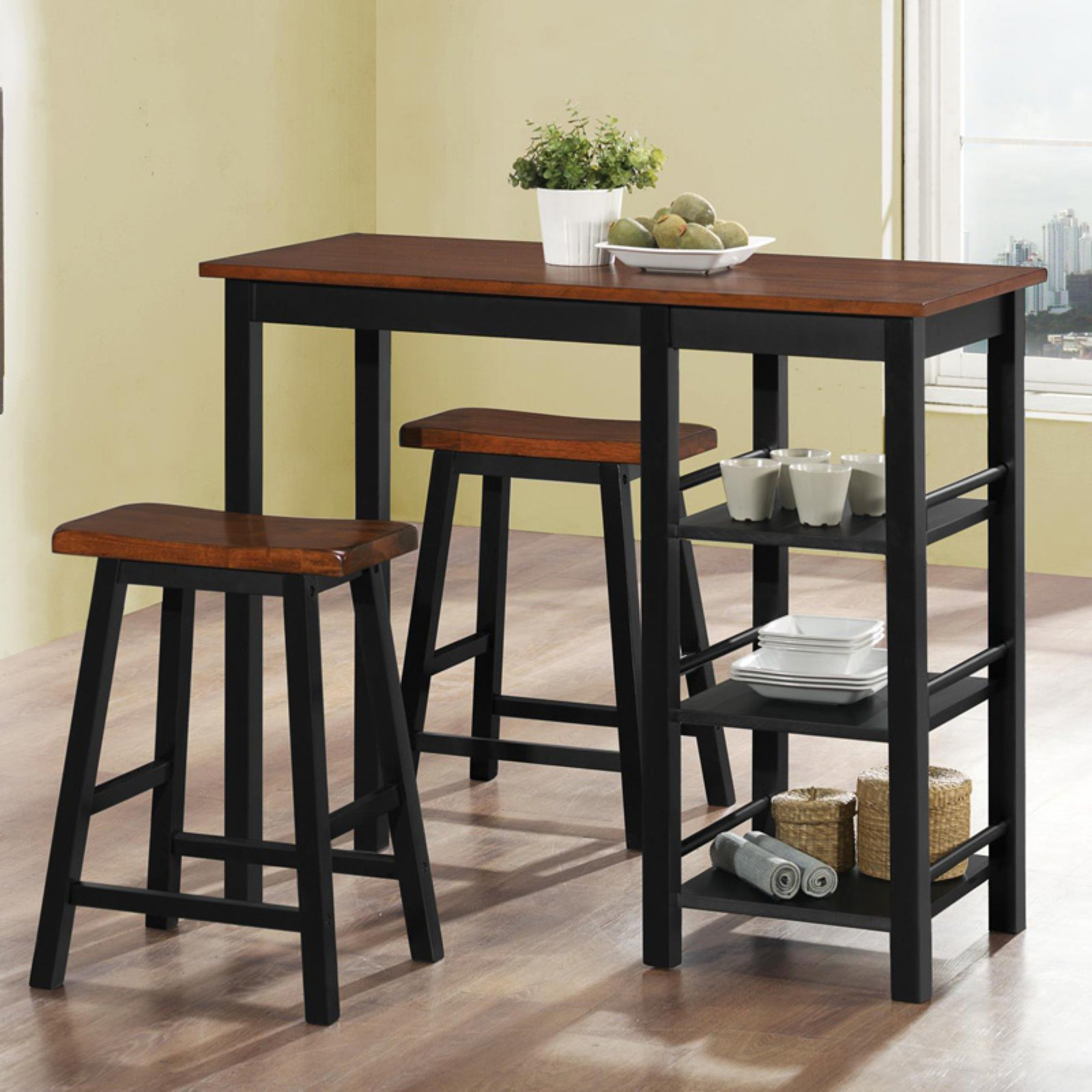 Home Source Industries 3 Piece Rectangular Counter Height Dining pertaining to Well known Denzel 5 Piece Counter Height Breakfast Nook Dining Sets