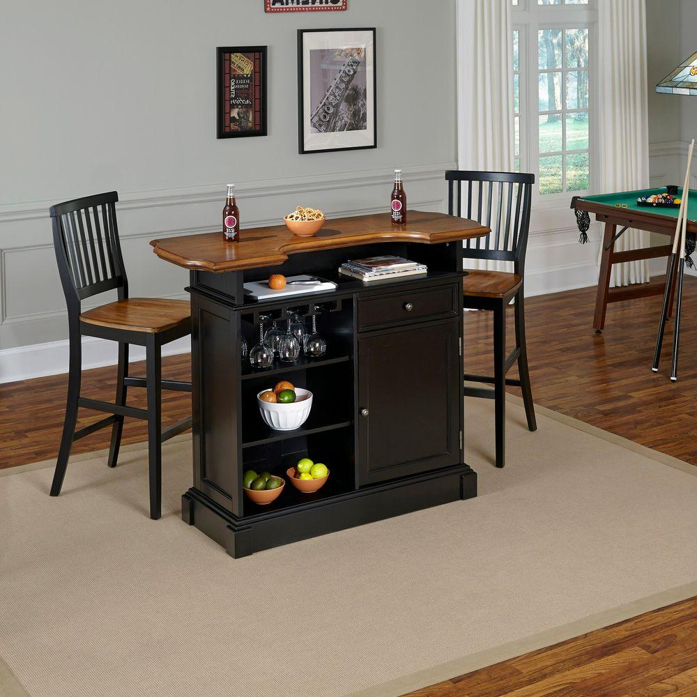 Home Styles Americana 3-Piece Black And Oak Bar Table Set 5003-998 within Best and Newest Bedfo 3 Piece Dining Sets