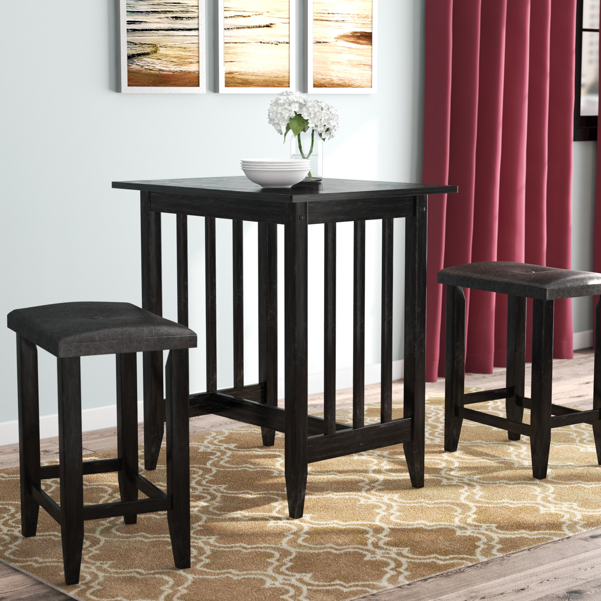 Hood Canal 3 Piece Dining Sets intended for Most Popular Andover Mills Richland 3 Piece Counter Height Pub Table Set