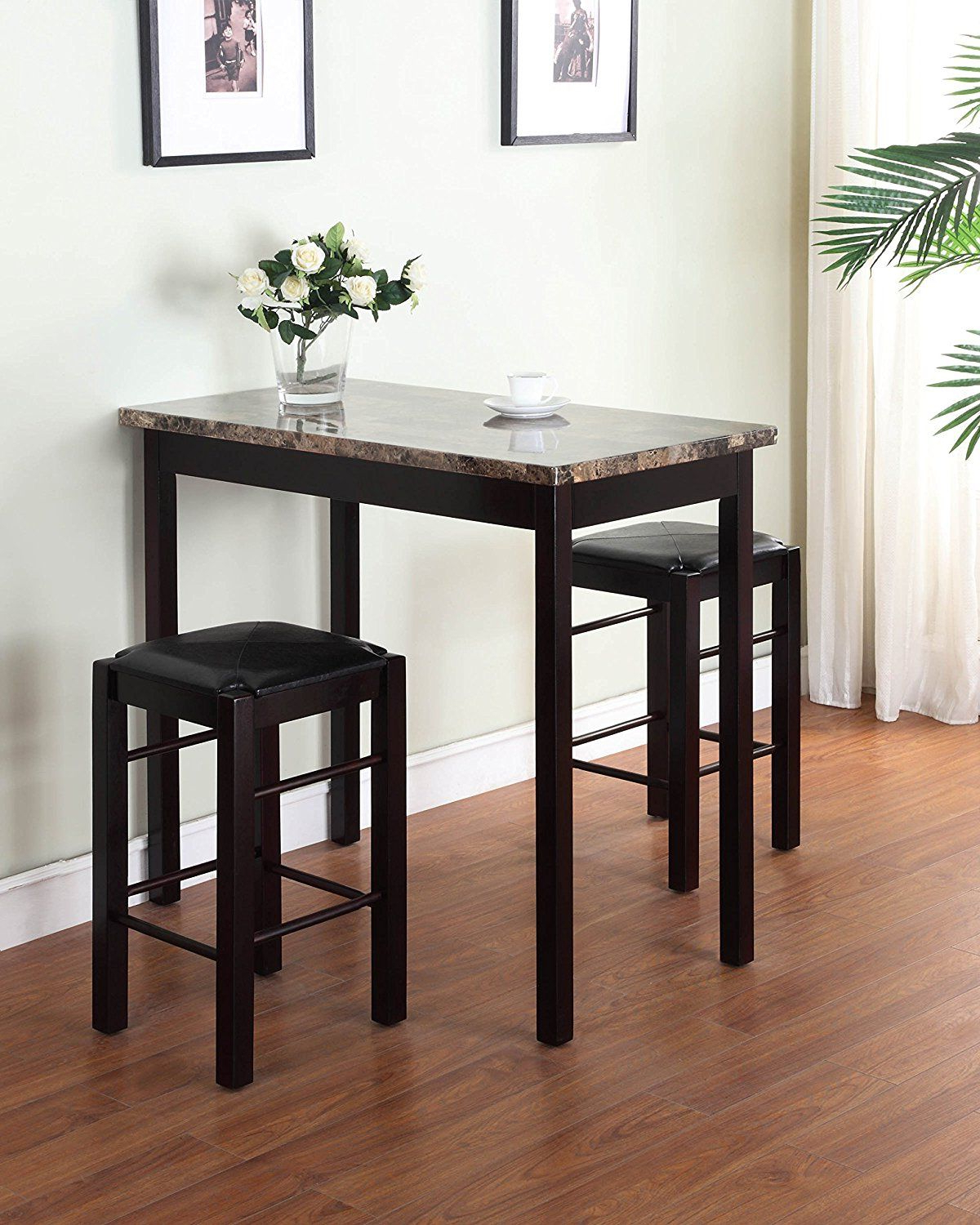 Hood Canal 3 Piece Dining Sets Pertaining To Well Liked Attractive 3 Piece Table Set With Padded Stool Seats With Black (Gallery 18 of 25)