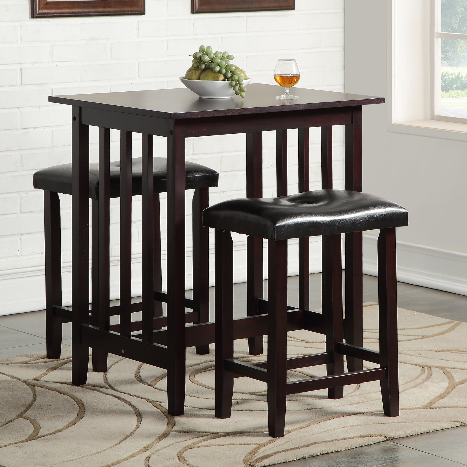 Hood Canal 3 Piece Dining Sets with 2019 Roundhill Furniture 3 Piece Counter Height Dining Table Set In 2019