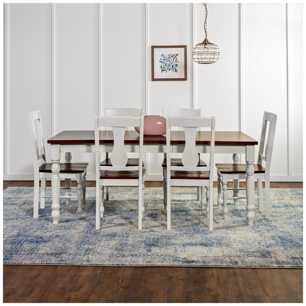 Huntsman Brown And White 7 Piece Dining Table And Chair Set – Style Regarding Latest Tavarez 5 Piece Dining Sets (View 13 of 25)