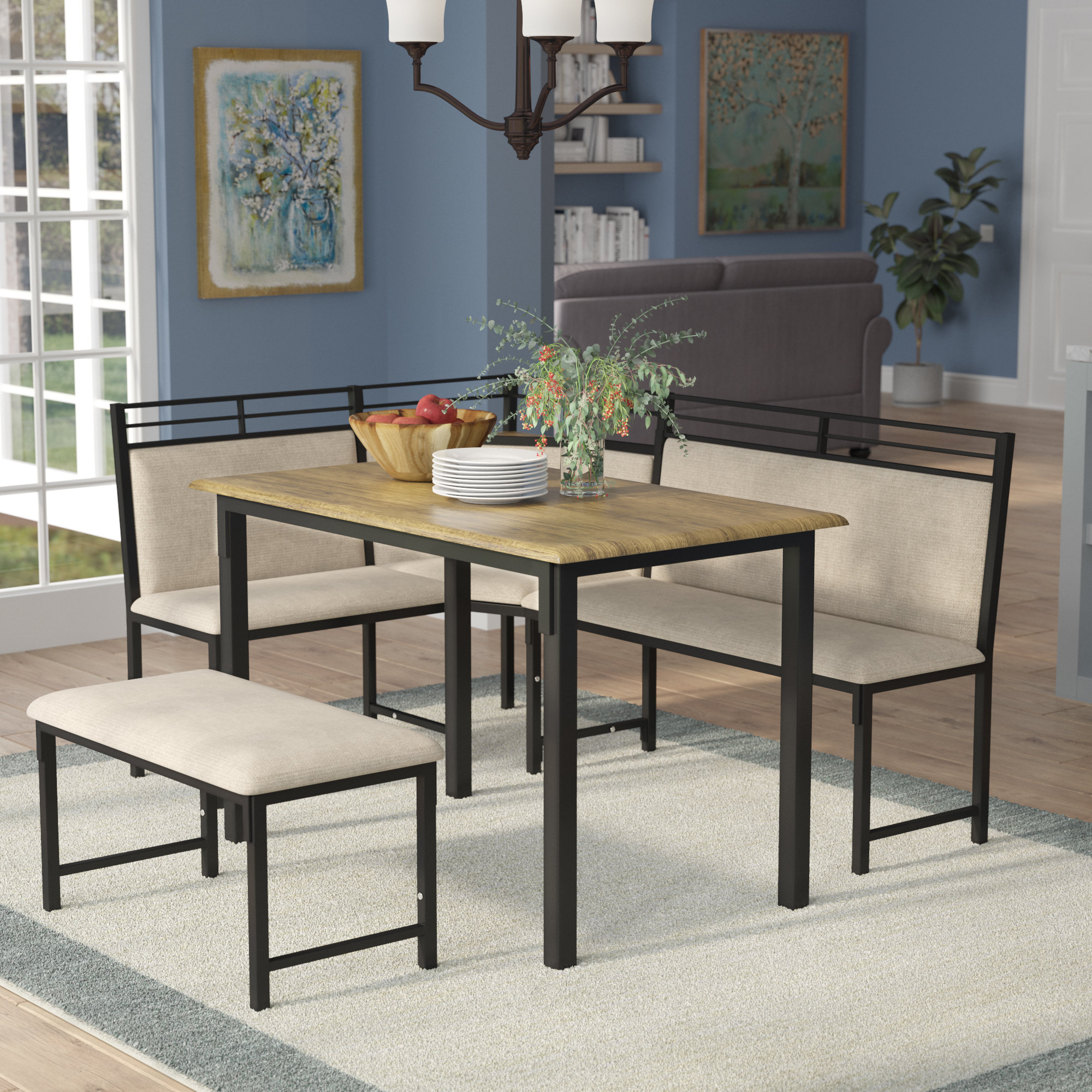 Isolde 3 Piece Dining Sets throughout Popular Red Barrel Studio Moonachie Corner 3 Piece Dining Set & Reviews