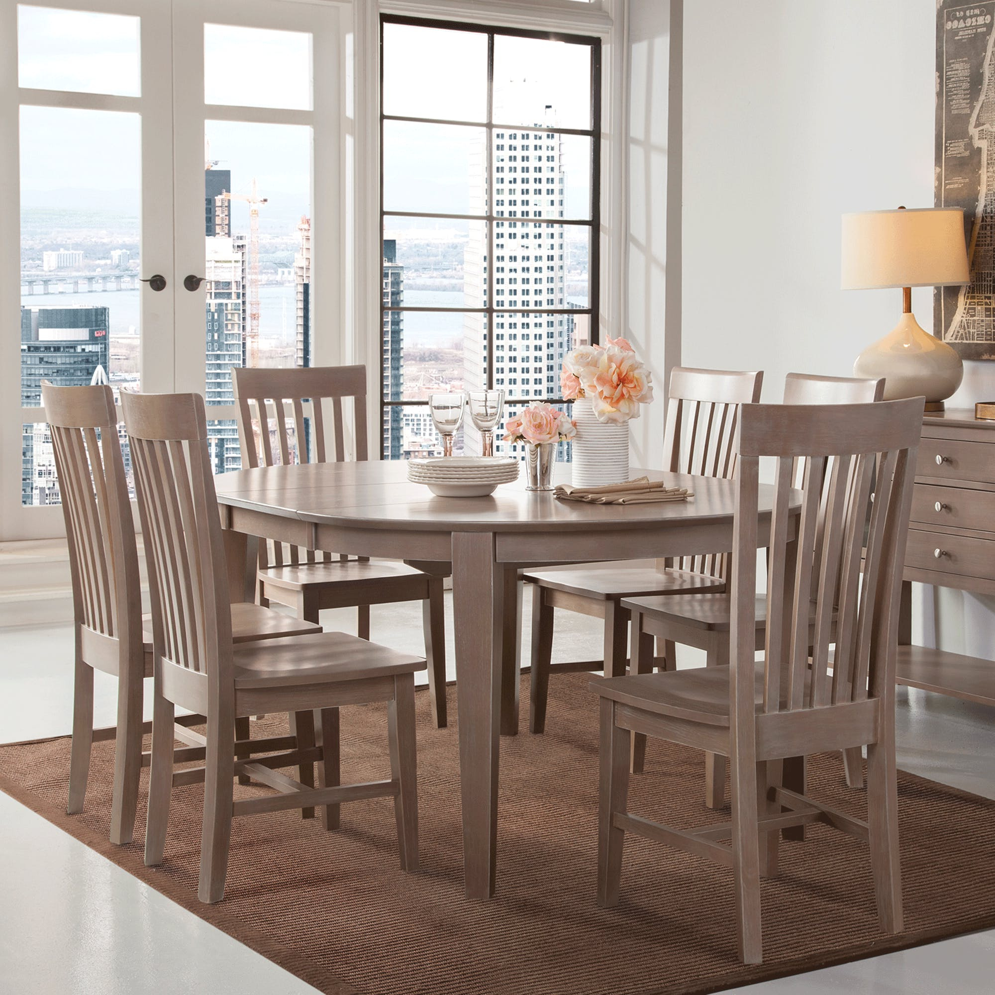 John 4 Piece Dining Sets Within Most Current Cosmopolitan Weathered Grey Dining Room 5 Piece Set – Oval Table (View 3 of 25)
