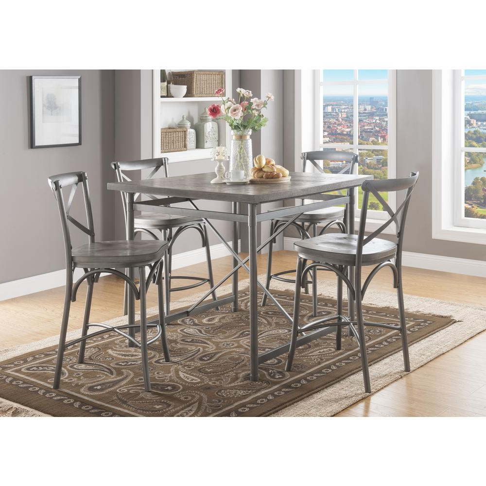 Kaelin 5 Piece Dining Sets Regarding Recent Acme Furniture Kaelyn Ii Gray Oak And Sandy Gray Counter Height (View 10 of 25)