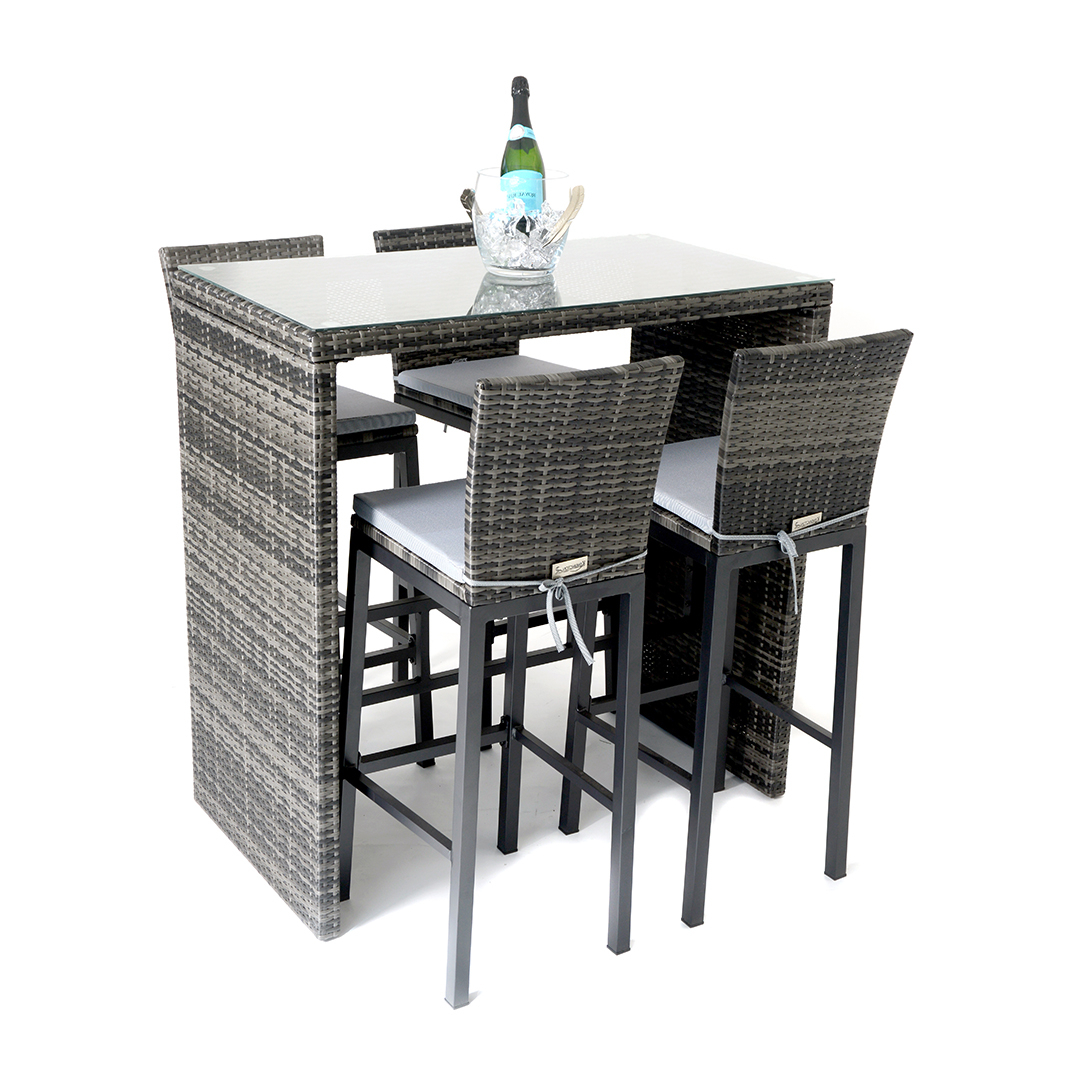 Kensington Sunset 5 Piece High Dining Set – Mixed Grey – Regatta Regarding Well Liked Lonon 3 Piece Dining Sets (Gallery 20 of 25)