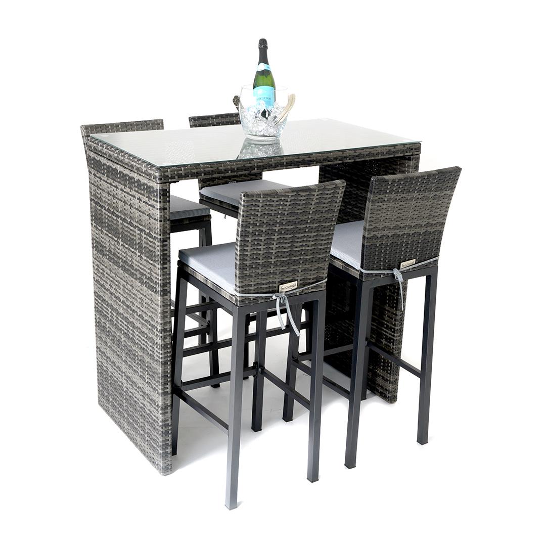 Kensington Sunset 5 Piece High Dining Set – Mixed Grey – Regatta Regarding Well Liked Lonon 3 Piece Dining Sets (View 20 of 25)