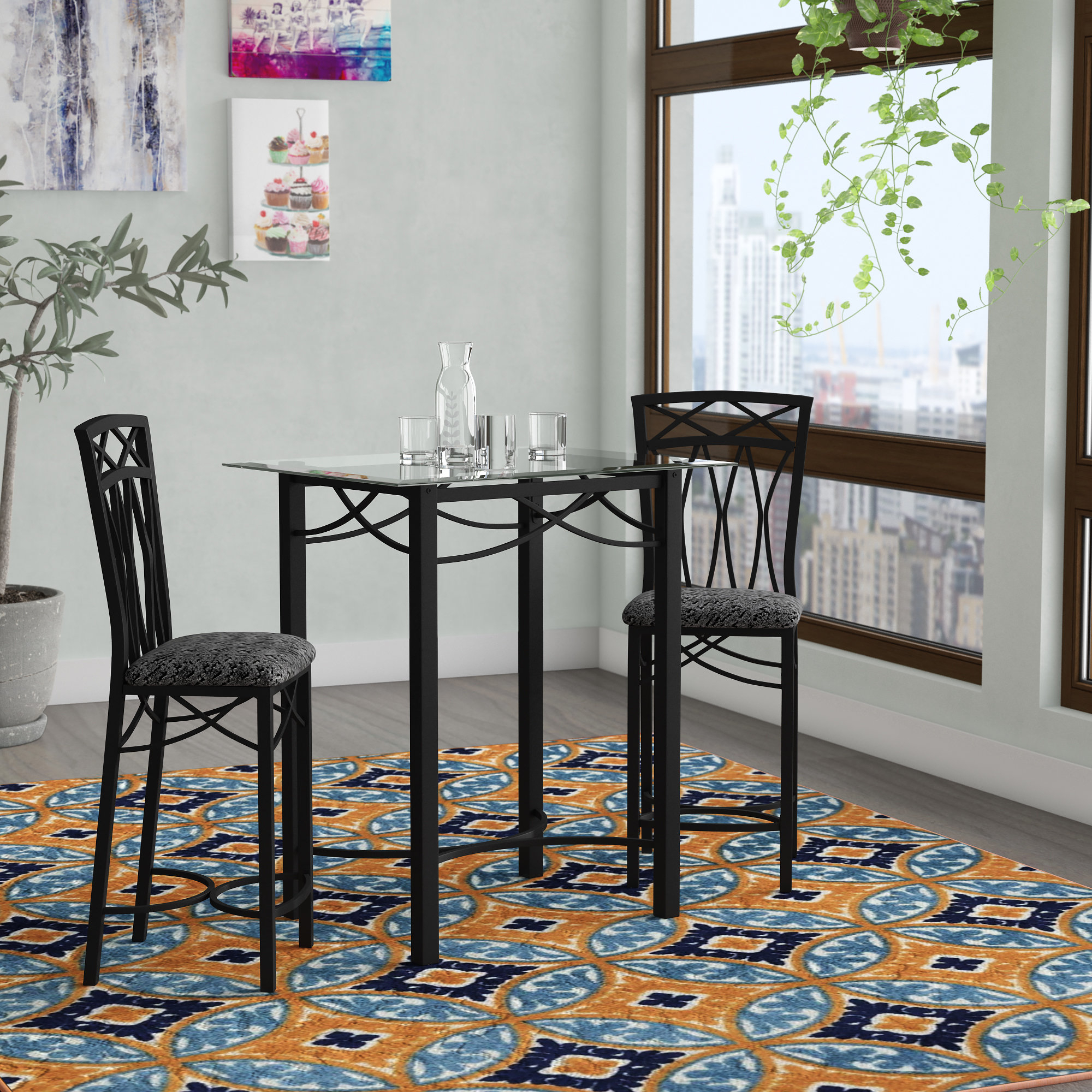 Kernville 3 Piece Counter Height Dining Sets throughout Recent Ebern Designs Yazzie Black Pub Set & Reviews