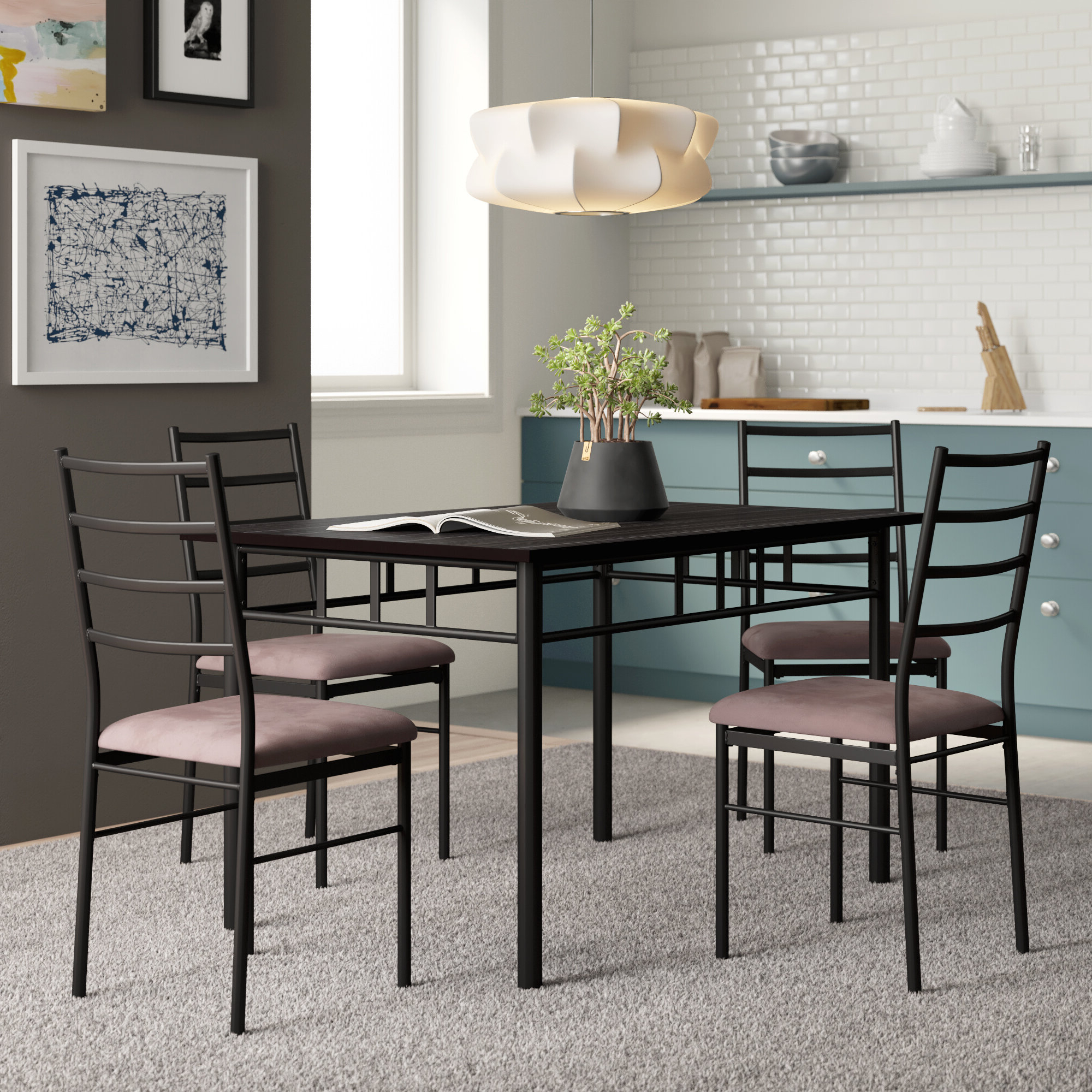 Kieffer 5 Piece Dining Sets Throughout Most Recent Zipcode Design Jarrod 5 Piece Dining Set & Reviews (View 8 of 25)