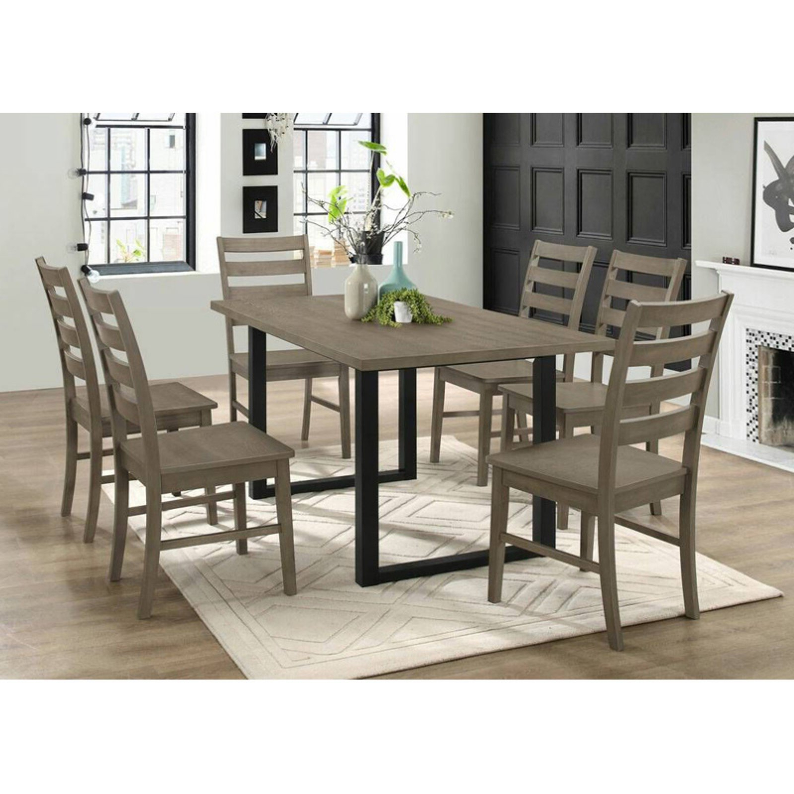 Kieffer 5 Piece Dining Sets With Most Recent Walker Edison Modern 7 Piece Dining Table Set Grey In  (View 7 of 25)