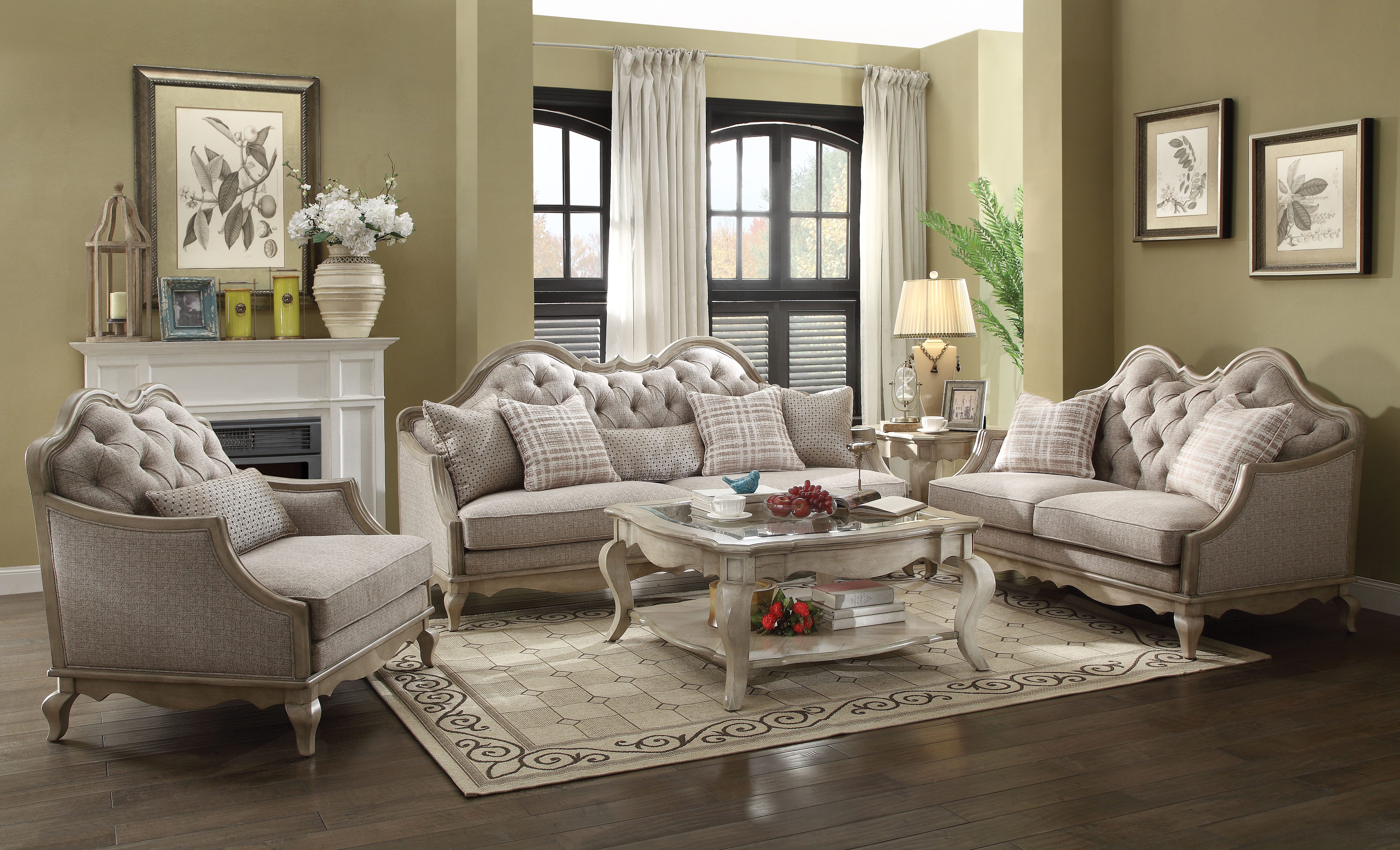 King Of Chairs Chelmsford Antique Taupe & Beige Fabric Chair W/1 Pillow regarding Newest Chelmsford 3 Piece Dining Sets