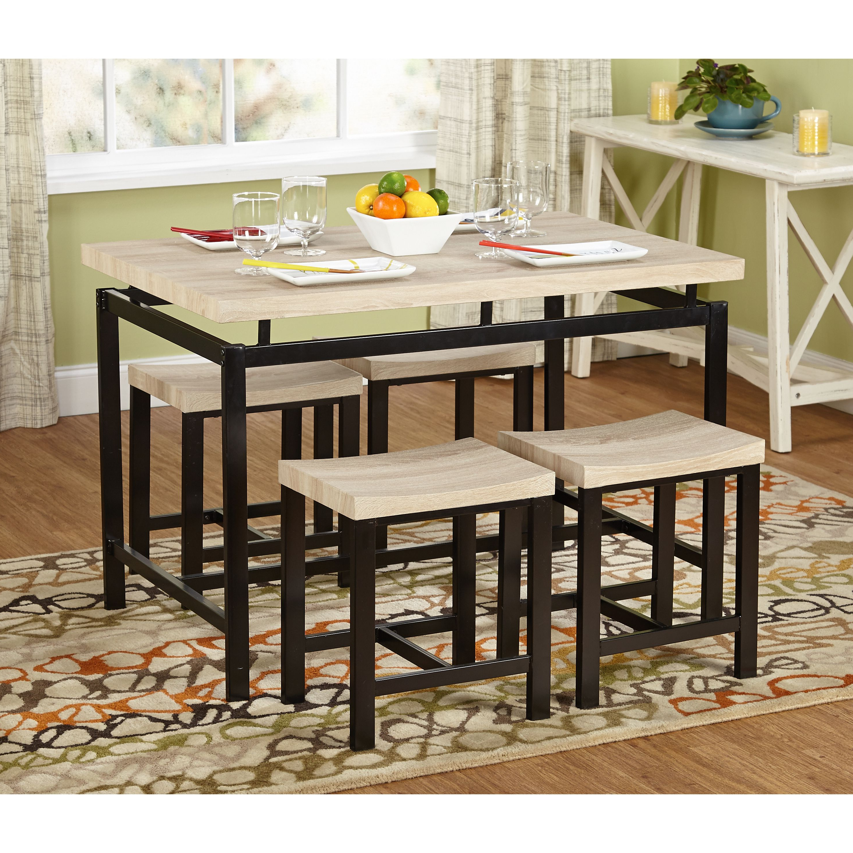 Kinsler 3 Piece Bistro Sets Pertaining To Latest Simple Living Delano Two Tone 5 Piece Dining Set (5Pc Delano Set (View 8 of 25)