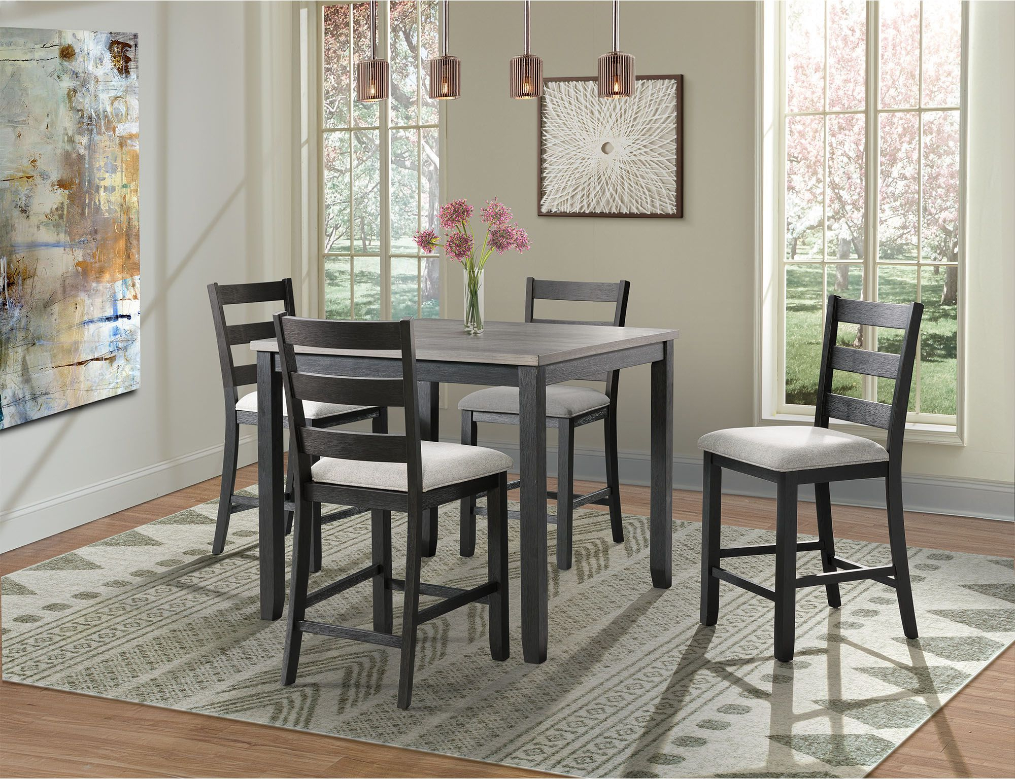 Kinsler 3 Piece Bistro Sets regarding Newest Kona Gray And Black 5 Piece Counter Height Dining Room Set From