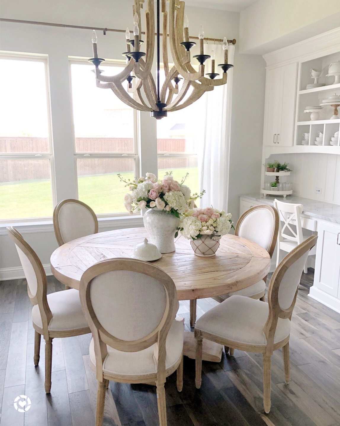 Kitchen, Kitchen Nook, Farmhouse Kitchen, Reclaimed Wood Round Table In Recent Jarrod 5 Piece Dining Sets (Gallery 23 of 25)