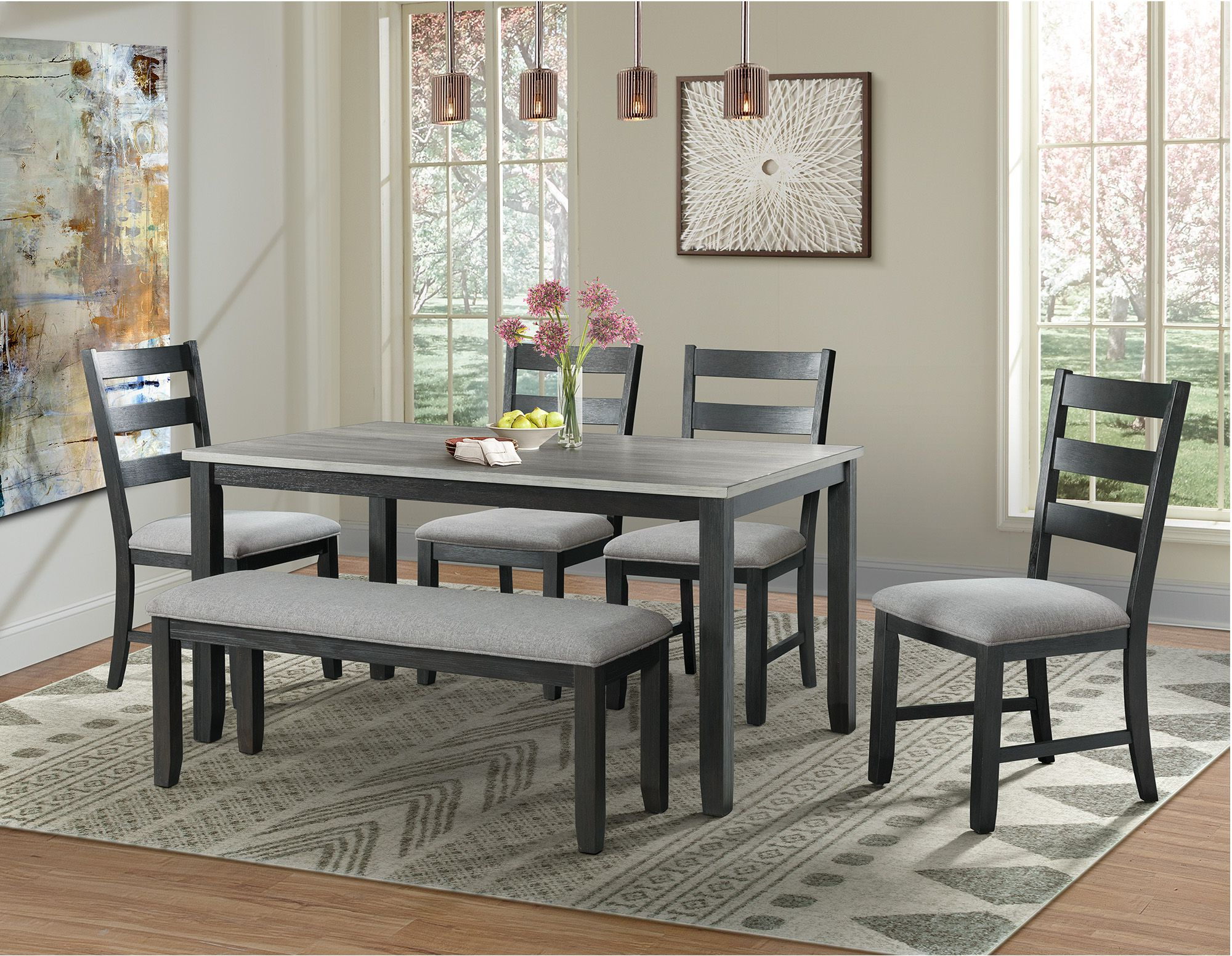 Kona Gray And Black 6 Piece Dining Room Set From Elements Furniture Pertaining To Well Liked Kinsler 3 Piece Bistro Sets (View 19 of 25)