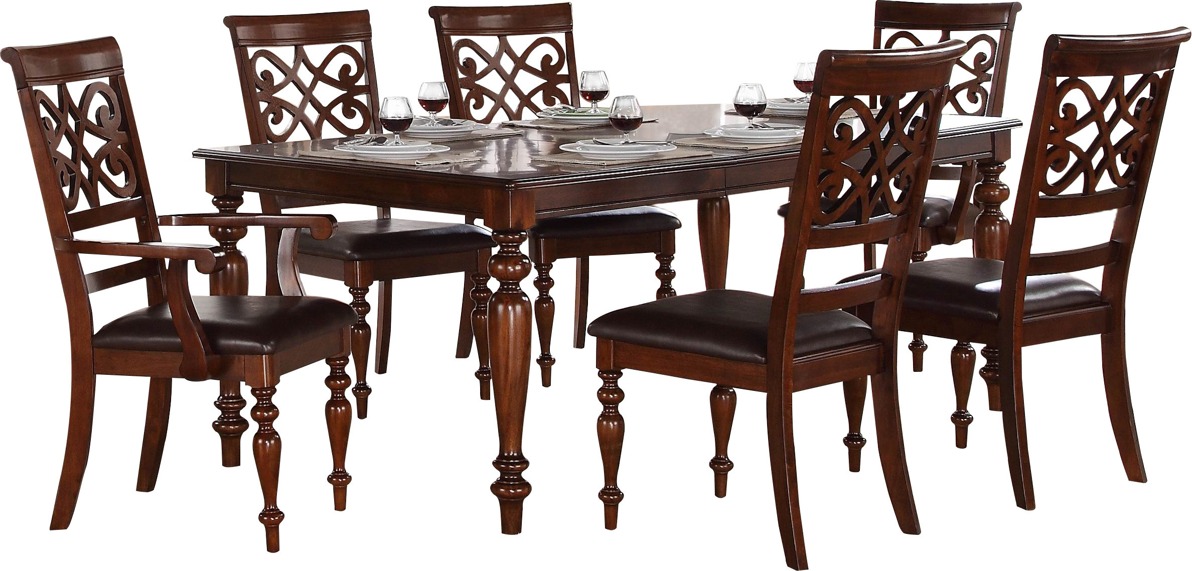 Laconia 7 Pieces Solid Wood Dining Sets (Set Of 7) Intended For Most Current Darby Home Co Leith 7 Piece Dining Set & Reviews (View 8 of 25)