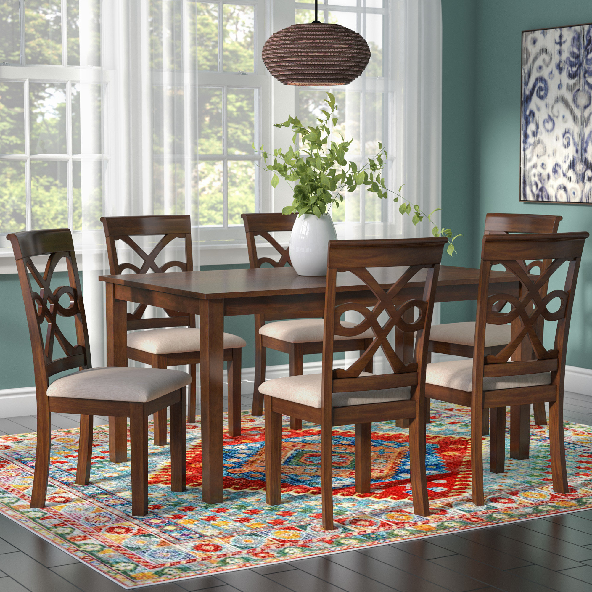 Laconia 7 Pieces Solid Wood Dining Sets (Set Of 7) Pertaining To Most Recently Released World Menagerie Duron 7 Piece Dining Set & Reviews (View 7 of 25)