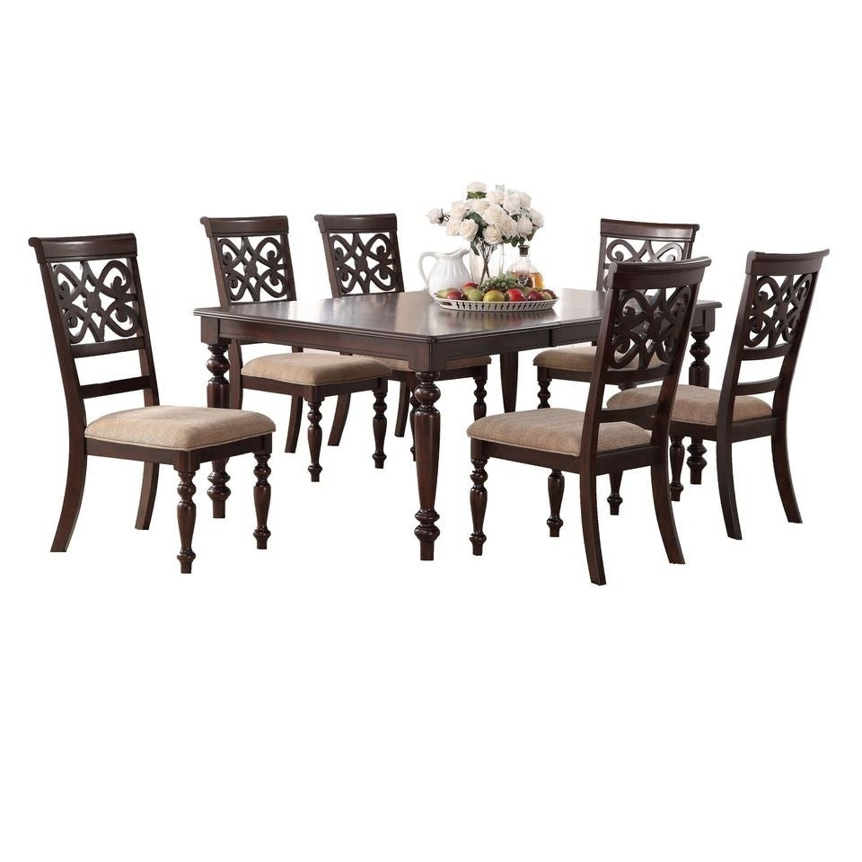 Laconia 7 Pieces Solid Wood Dining Sets (Set Of 7) With Most Recently Released Shop Home Source Laconia Walnut 7 Piece Dining Set – Free Shipping (View 5 of 25)