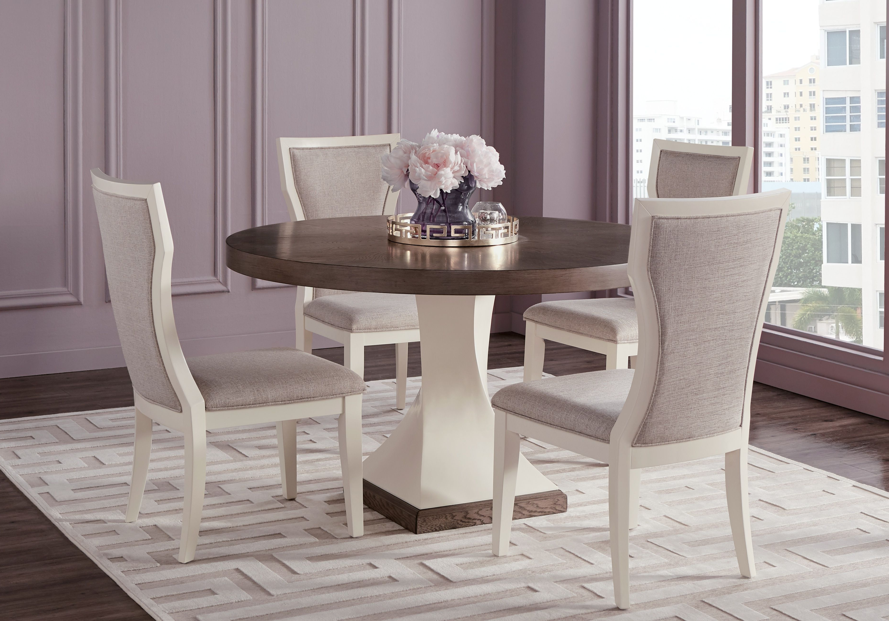 Lamotte 5 Piece Dining Sets Within Well Known Sofia Vergara Santa Fiora White 5 Pc Round Dining Room In  (View 8 of 25)