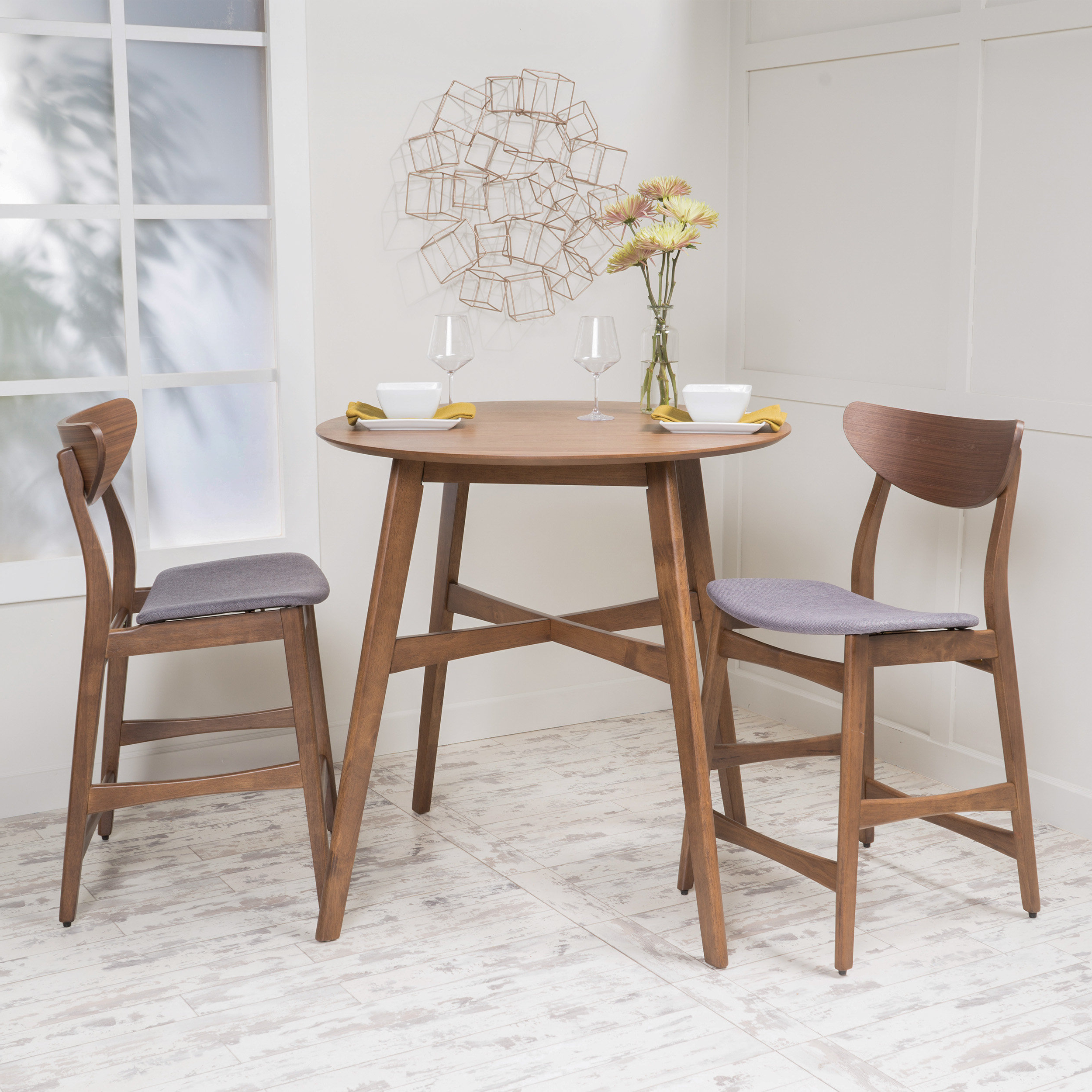 Langley Street Santa Cruz 3 Piece Counter Height Dining Set With Famous Moorehead 3 Piece Counter Height Dining Sets (View 7 of 25)